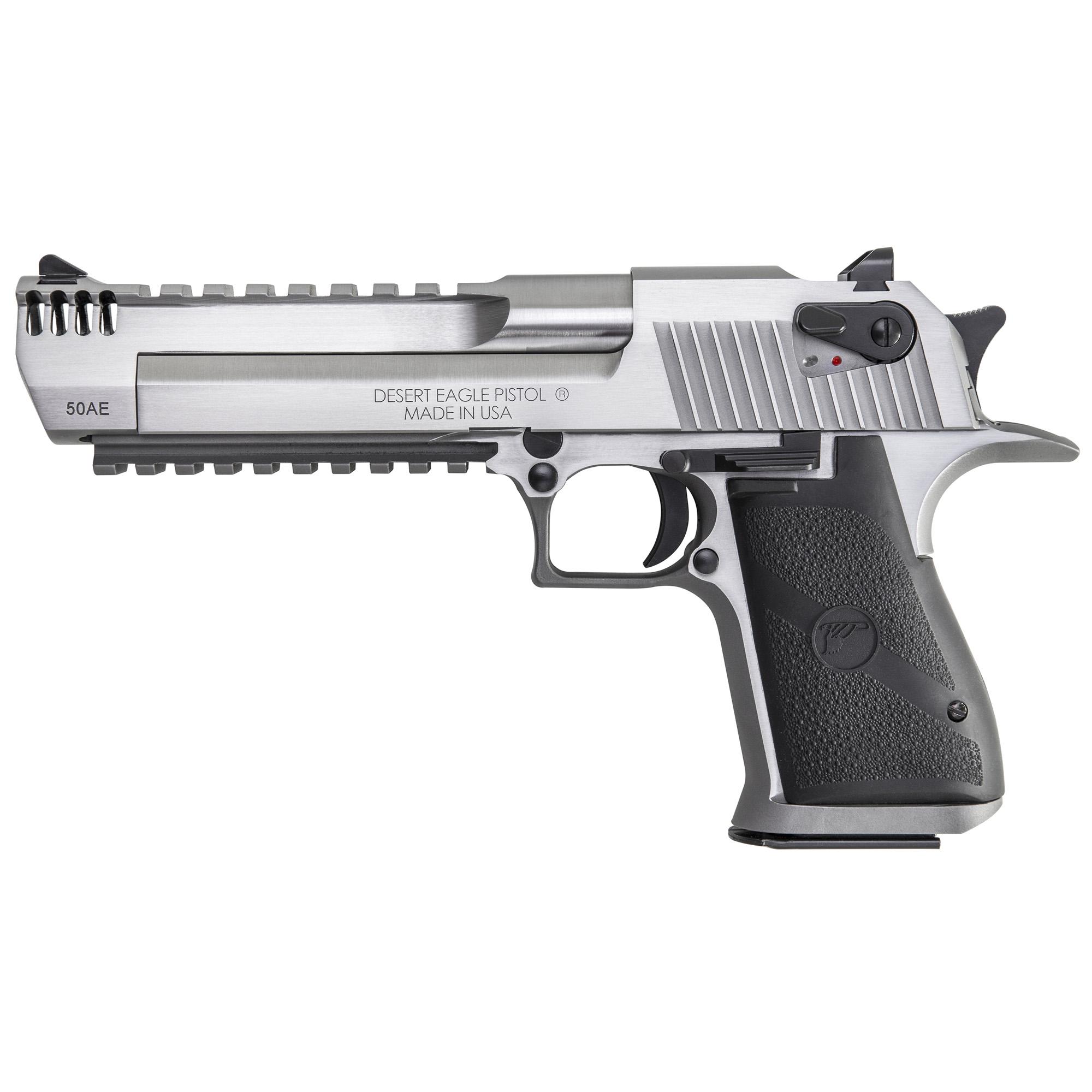 "Desert Eagle(R) Mark XIX Pistol"" Stainless Steel with Picatinny Bottom Rail"" Weaver Style Top Rail"" Integral Muzzle Brake"" Black Appointments"