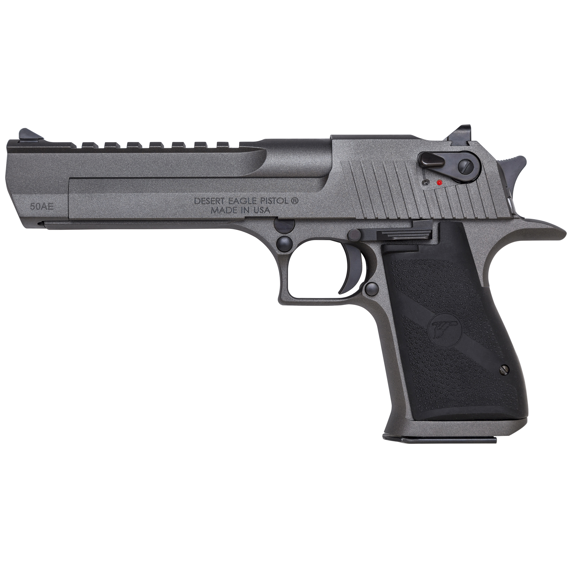 """The Mark XIX Desert Eagle Tungsten pistol is a gas-operated"""" semi-automatic pistol with a 7-round capacity in .50AE and an 8-round capacity in .44 Magnum. The gun measures 10.75"""" in length and has a 6"""" barrel. Width is 1.25"""""""" height is 6.25"""" and the weight with an empty magazine is approx. 72 ounces. It has a trigger reach of 2.75"""" and a sight radius of 8.5"""" with the 6"""" barrel. The construction of the Mark XIX Desert Eagle pistol utilizes the latest CNC machine technology providing exacting specifications with tight tolerances creating a work of art in a precision firearm. The grip is anatomically formed and provides an ideal hand seating angle for two-handed shooting"""" allowing for comfortable"""" rapid and accurate firing. The Weaver style accessory rail easily allows for aftermarket optics and scope rings. Includes one 7-round magazine."""