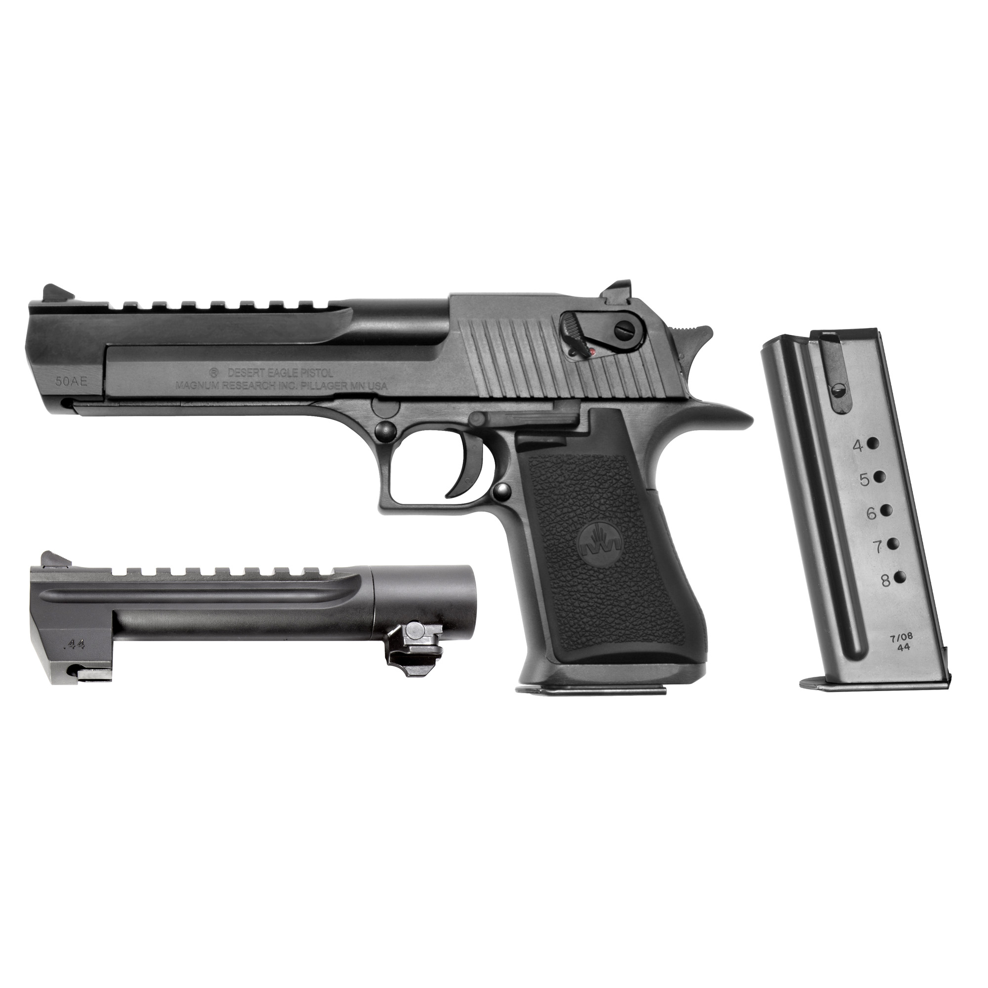 """The Desert Eagle Mark XIX"""" Model Number DE50WB6"""" features a .50 AE caliber with a 6"""" barrel"""" O/A length of 10.75"""" a slide width of 1.25"""" and a height of 6.25"""". The steel-framed pistol is manufactured in Israel and has a black oxide finish with a black barrel"""" and a combat-type fixed sight. The new combo caliber package includes a .44 Magnum caliber barrel in a black finish and a .44 Magnum magazine. This is the first time that Magnum Research has offered a combo caliber package featuring the .50 AE and the .44 Magnum calibers in one gun case. Also includes one 7-round .50 AE caliber magazine."""