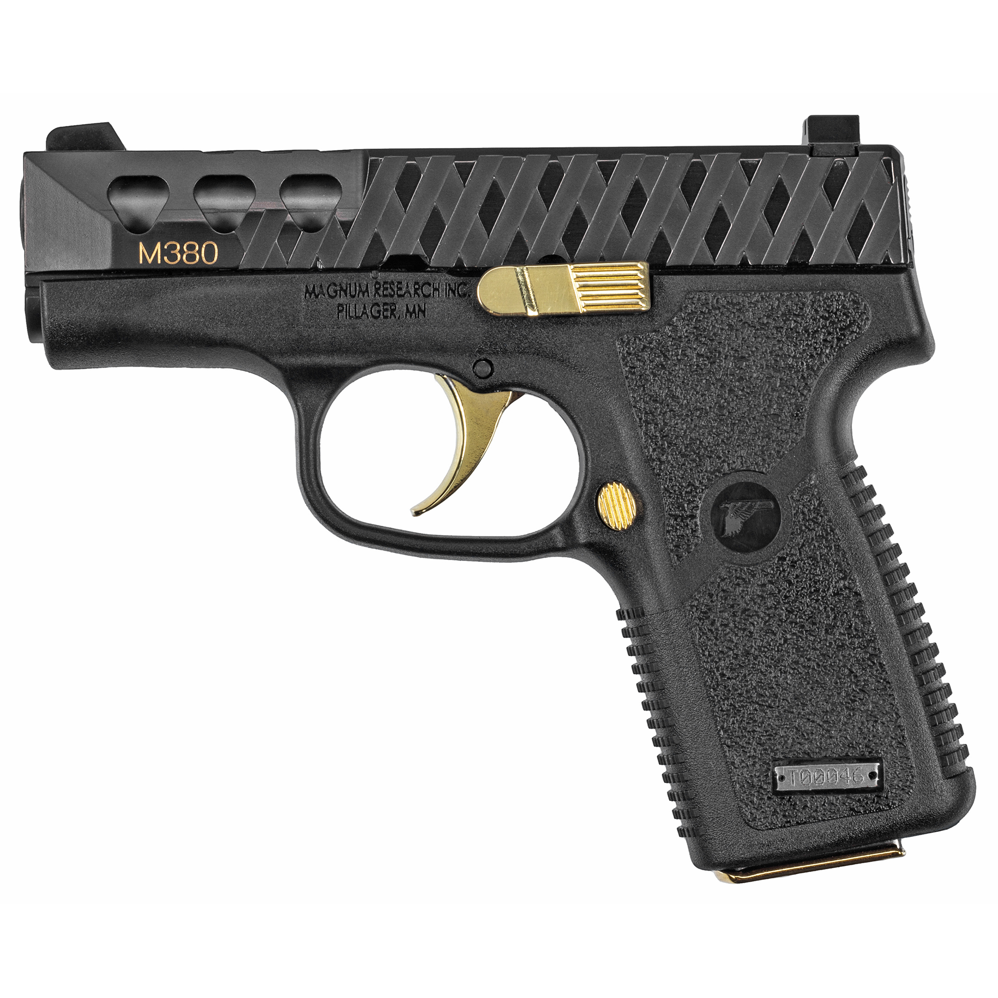 Magnum Research's .380acp pocket pistol offering features some high and accents and custom engraving making this a pistol that is sure to turn heads.