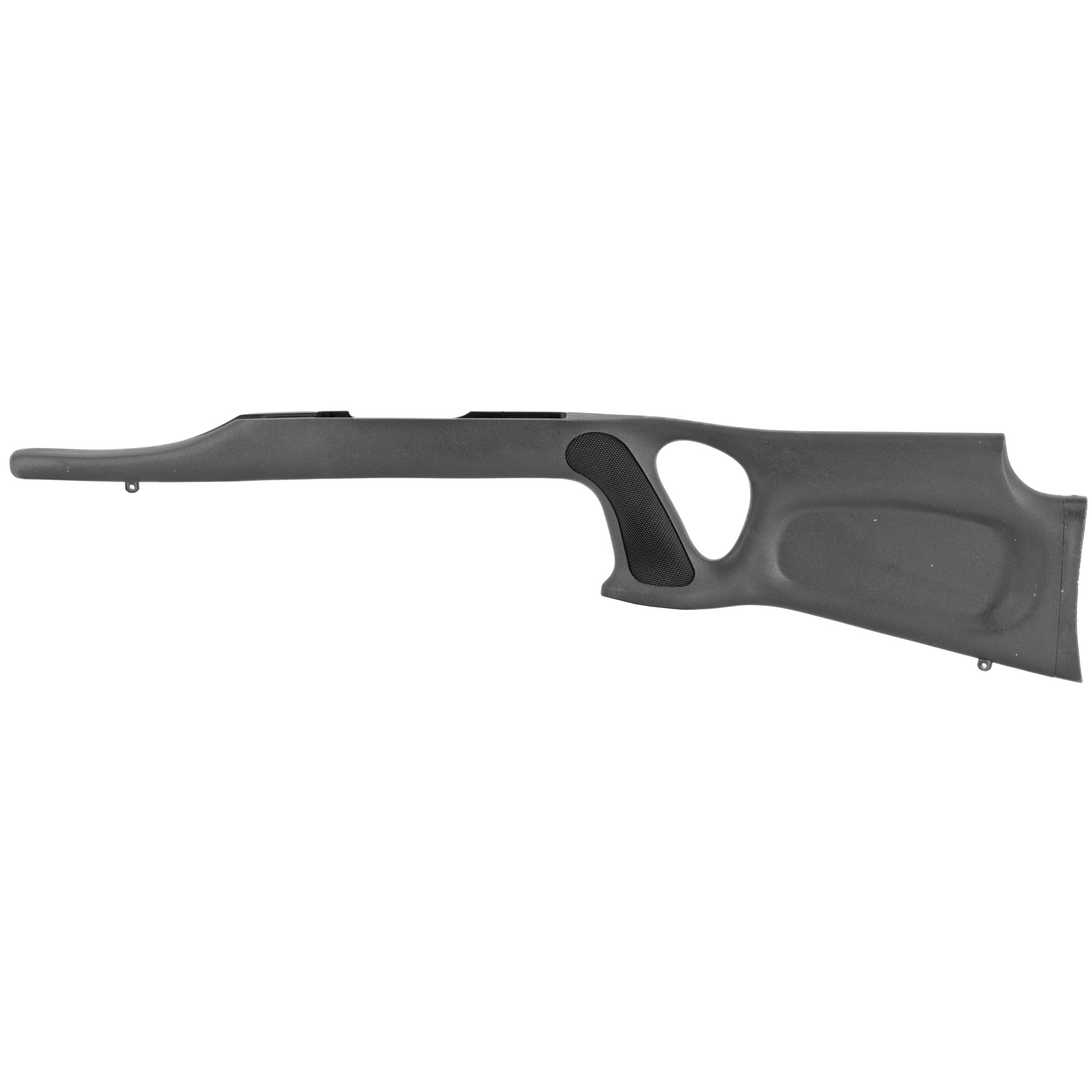 Magnum Research's Glacier Ridge 10/22 LR Ambidextrous Thumbhole Stock is made from polypropylene with fiber additives for maximum strength. This stock design features a comb height designed for comfort with a semi-palm swell on both sides of the pistol grip. There is a molded to fit rubber butt plate and the comb height easily accommodates optics.