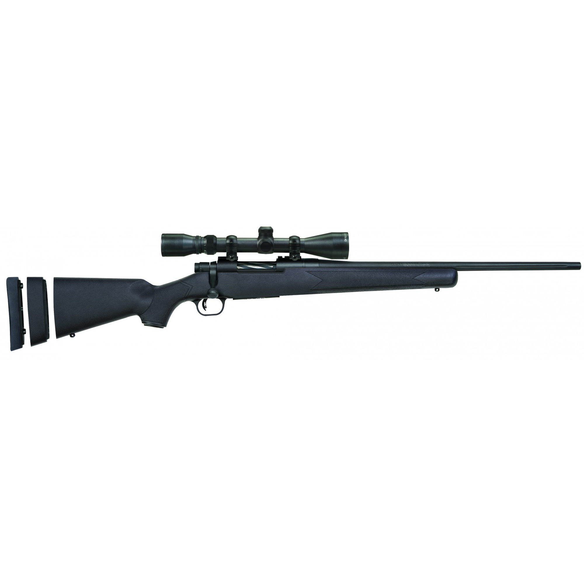 """The Mossberg Patriot-Youth-Super-Bantam-Scoped-Combo looks great on the gun rack and feels great when shouldered. The Patriot's button-rifled fluted barrels are free-floated and have a recessed crown for maximum accuracy. At 20"""" in length"""" the barrel is short enough for quick handling in the densest woods. The Patriot Bantam's attractive spiral fluted bolt features an ergonomic bolt angle and knurled bolt handle offering plenty of grip for quick follow-up shots and enhanced shooter comfort. Its box-magazine-fed action makes loading and unloading a snap."""