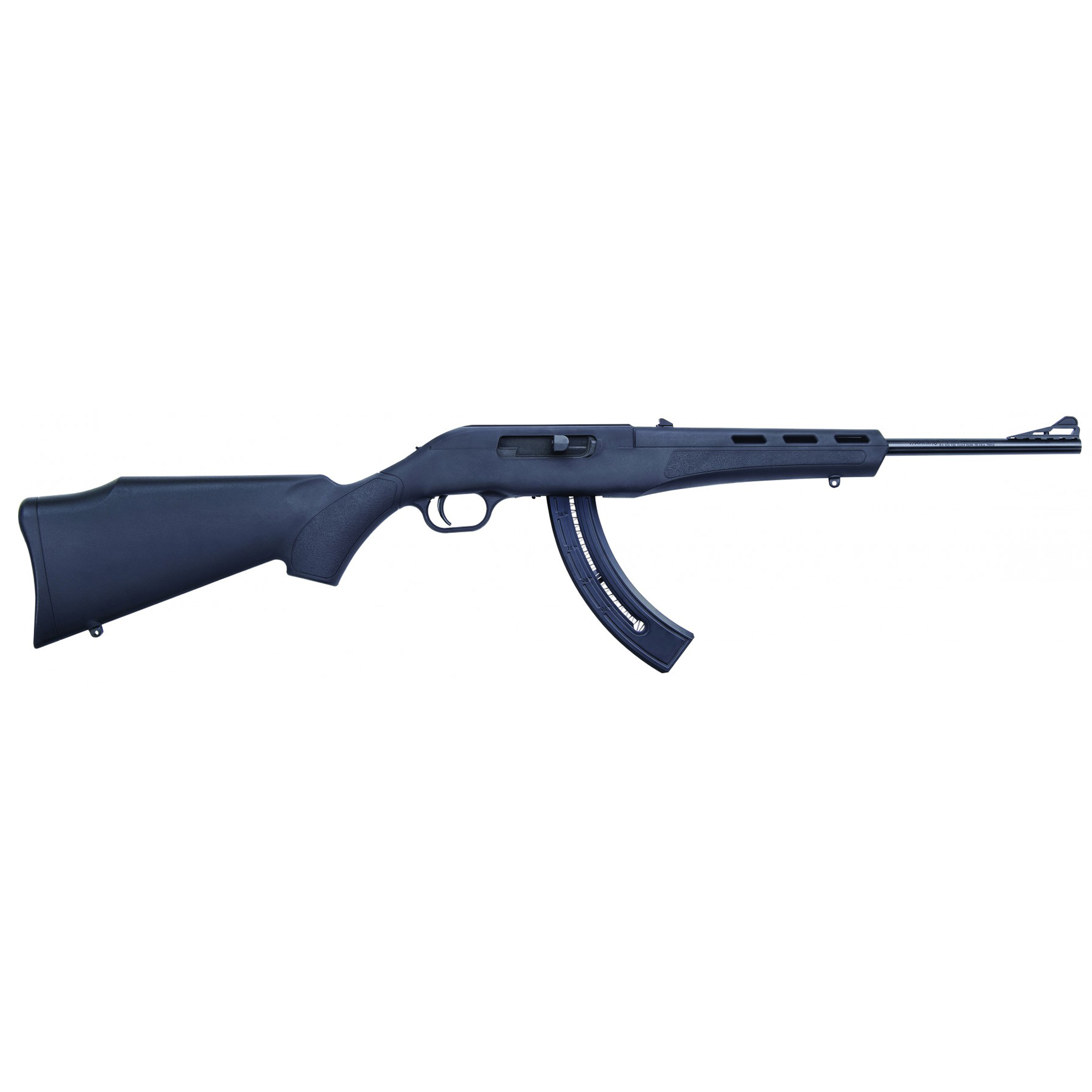 """The Mossberg Blaze(TM) is an innovative polymer rifle that's lightweight"""" rugged"""" easy to handle"""" and sure to be a fast favorite for plinkers. Adjustable fiber optic sights and a 25 round magazine add to the value of this affordable rimfire."""