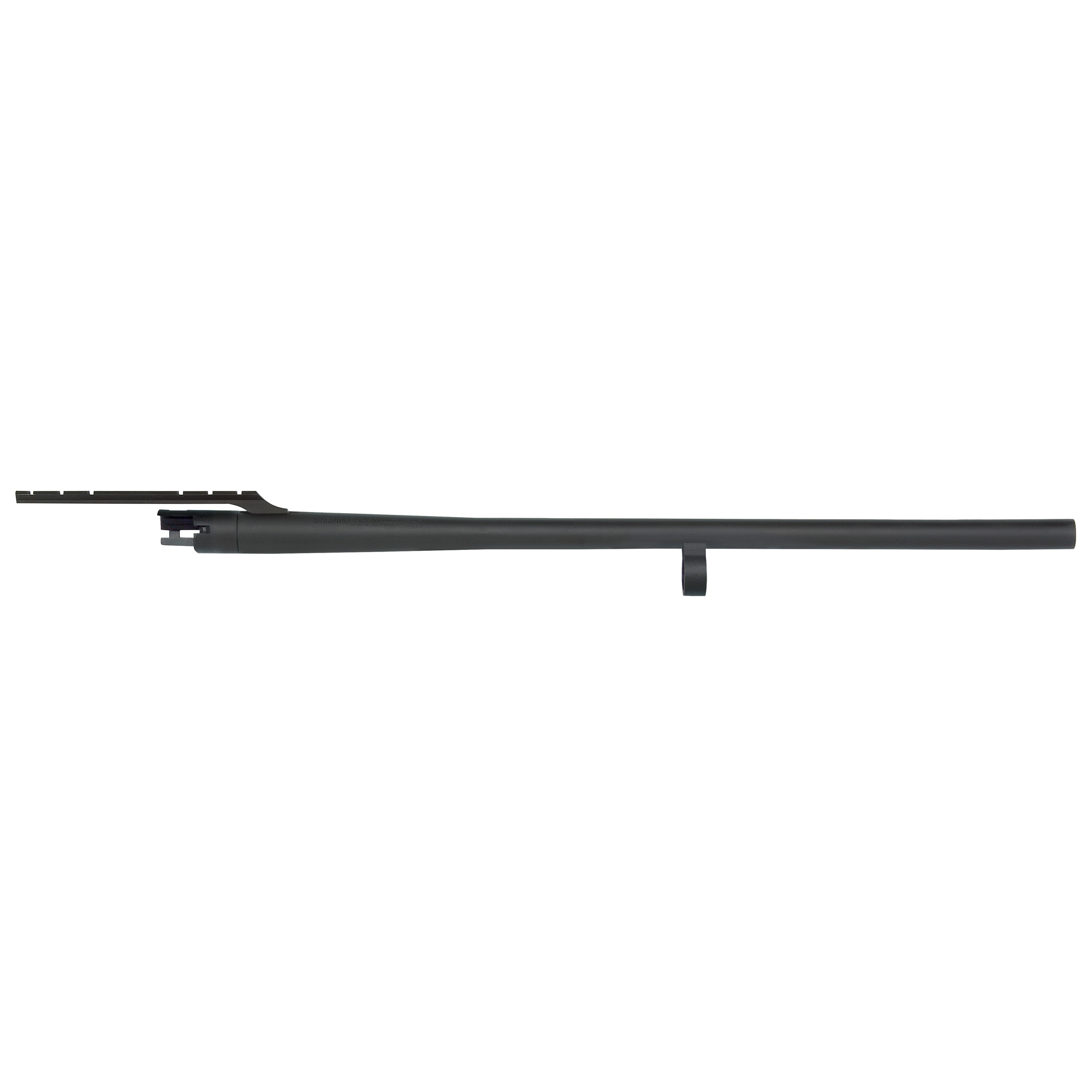 "Remington 870 12 Gauge"" 24"" Slug barrel with cantilever mount"" fully-rifled bore"" and matte blued finish."