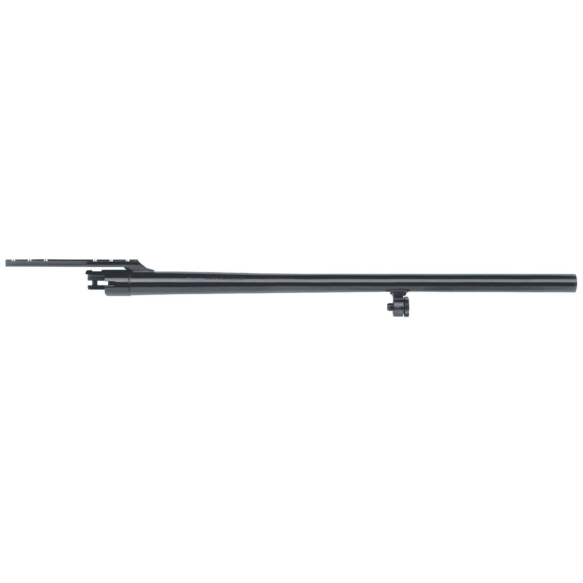 "24"" Slug barrel with cantilever mount"" fully-rifled bore"" and blued finish."