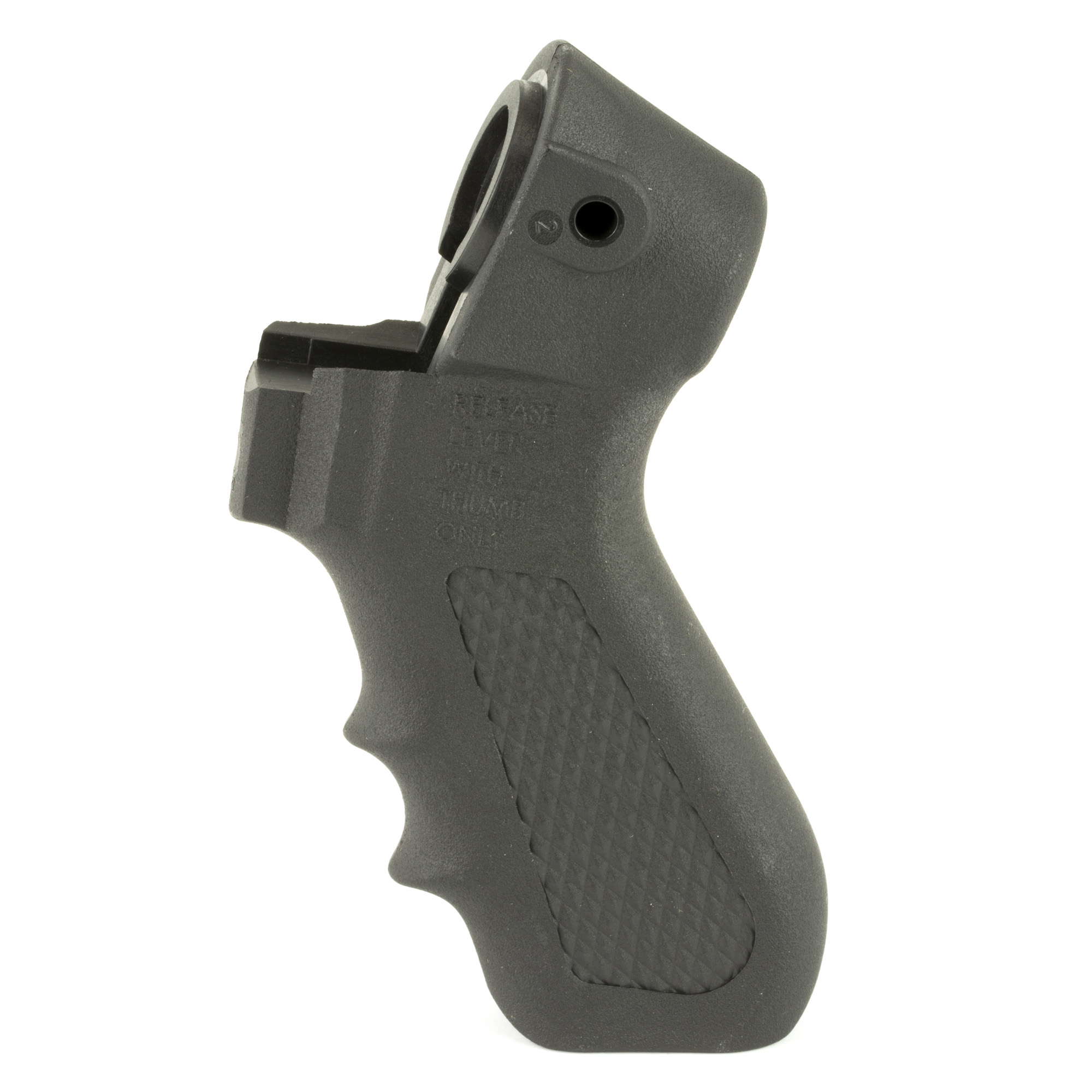 """This Mossberg Pistol Grip Kit for 500/590 12-Gauge Shotguns will turn your ordinary 12-gauge shotgun into one that looks tactical while providing a sure grip and more steady aim with its molded finger grooves. This pistol grip fits Mossberg 500 and 590 12-gauge shotguns. The kit includes a pistol grip"""" pistol grip bolt"""" flat and lock washer"""" rear stud"""" front stud and washer and an Allen wrench so you have everything you need for installation."""