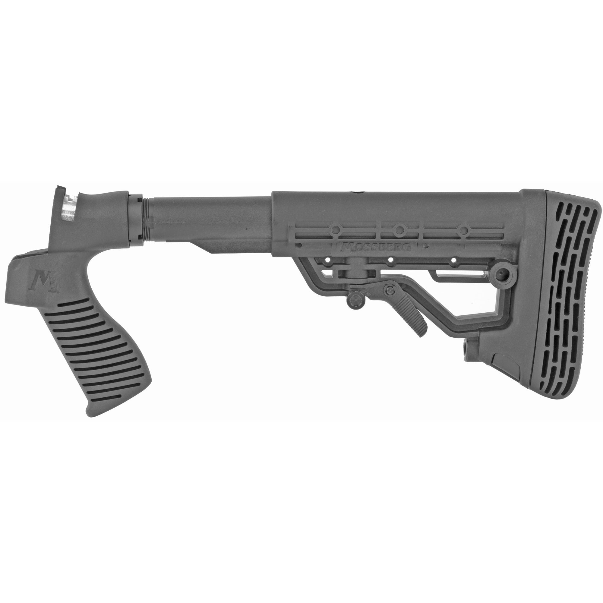 """This Mossberg FLEX 6-Position Tactical Stock is the optimal way to completely customize your FLEX 500 or 590 shotgun. It allows you to easily switch and lock in pumps"""" stocks"""" butt pads and grips without additional tools."""