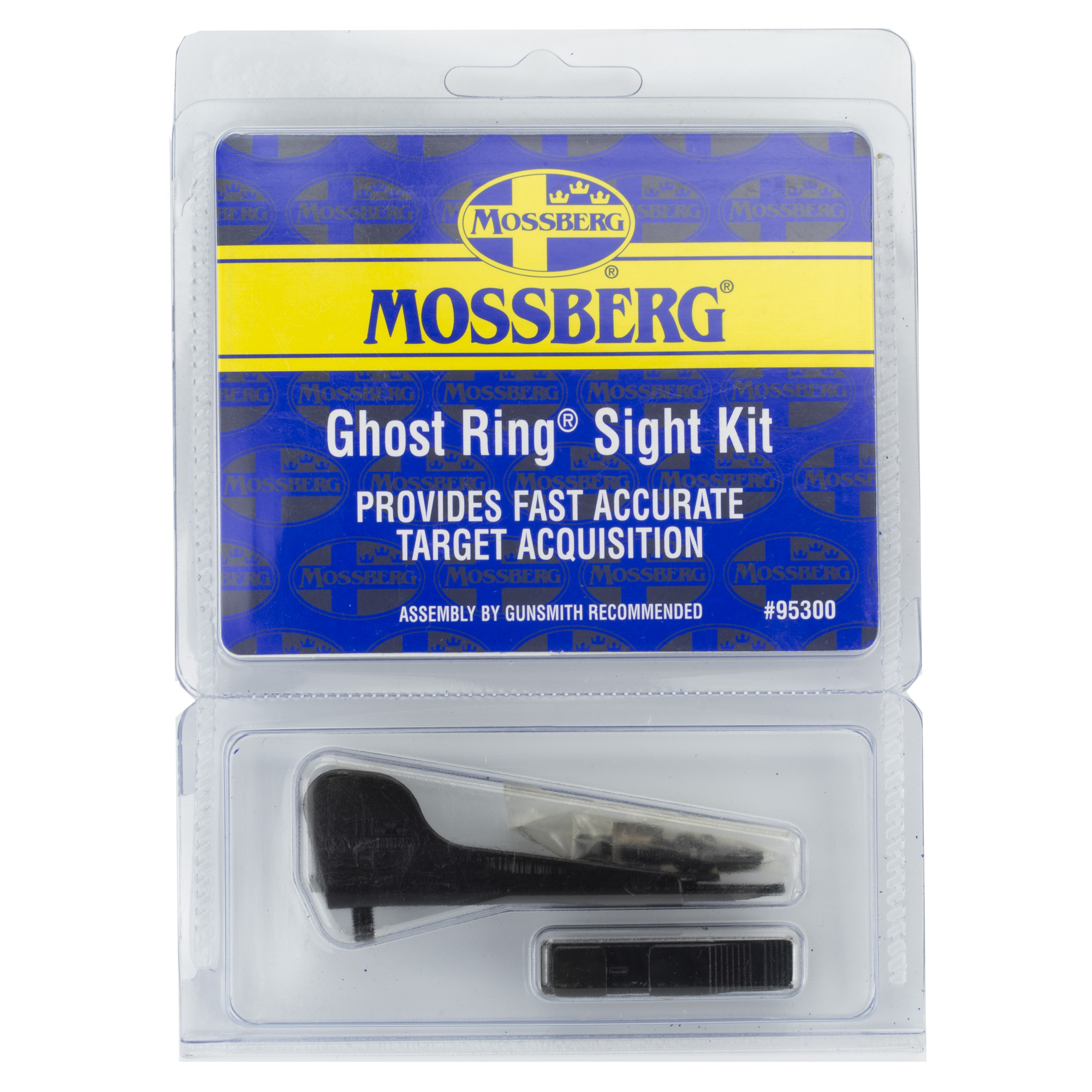 """Designed to fit 12 gauge Mossberg 500 and 590 shotguns"""" this ghost ring sight kit includes everything you need. Gunsmithing is required."""