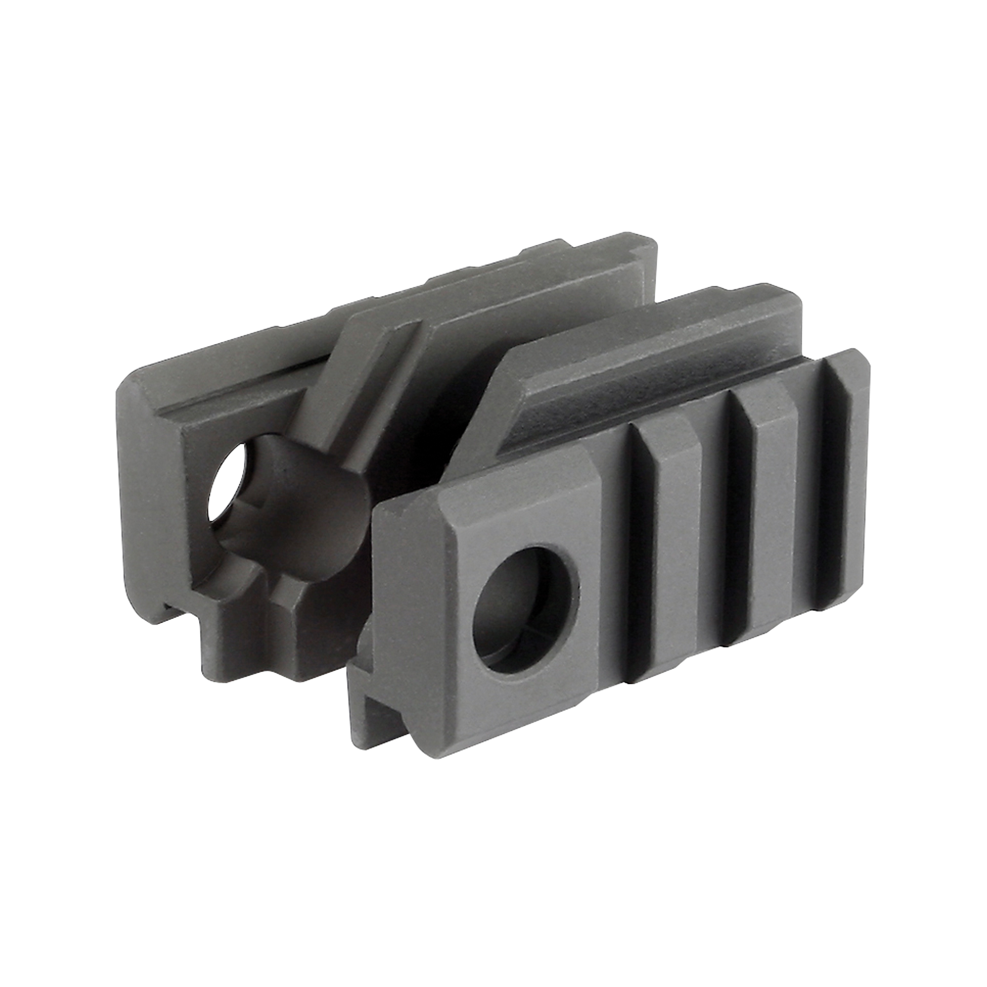 "Midwest Industries MI Tactical Light Mount is built for any circumstances and made to help the shooter adapt to any situation. It is extremely rigid and will not move once it is tightened due to the taper and angled cuts. With its two mil-spec picatinny rails with two anti-rotation sling swivel sockets"" it will fit any AR series rifle with standard front sight housing."