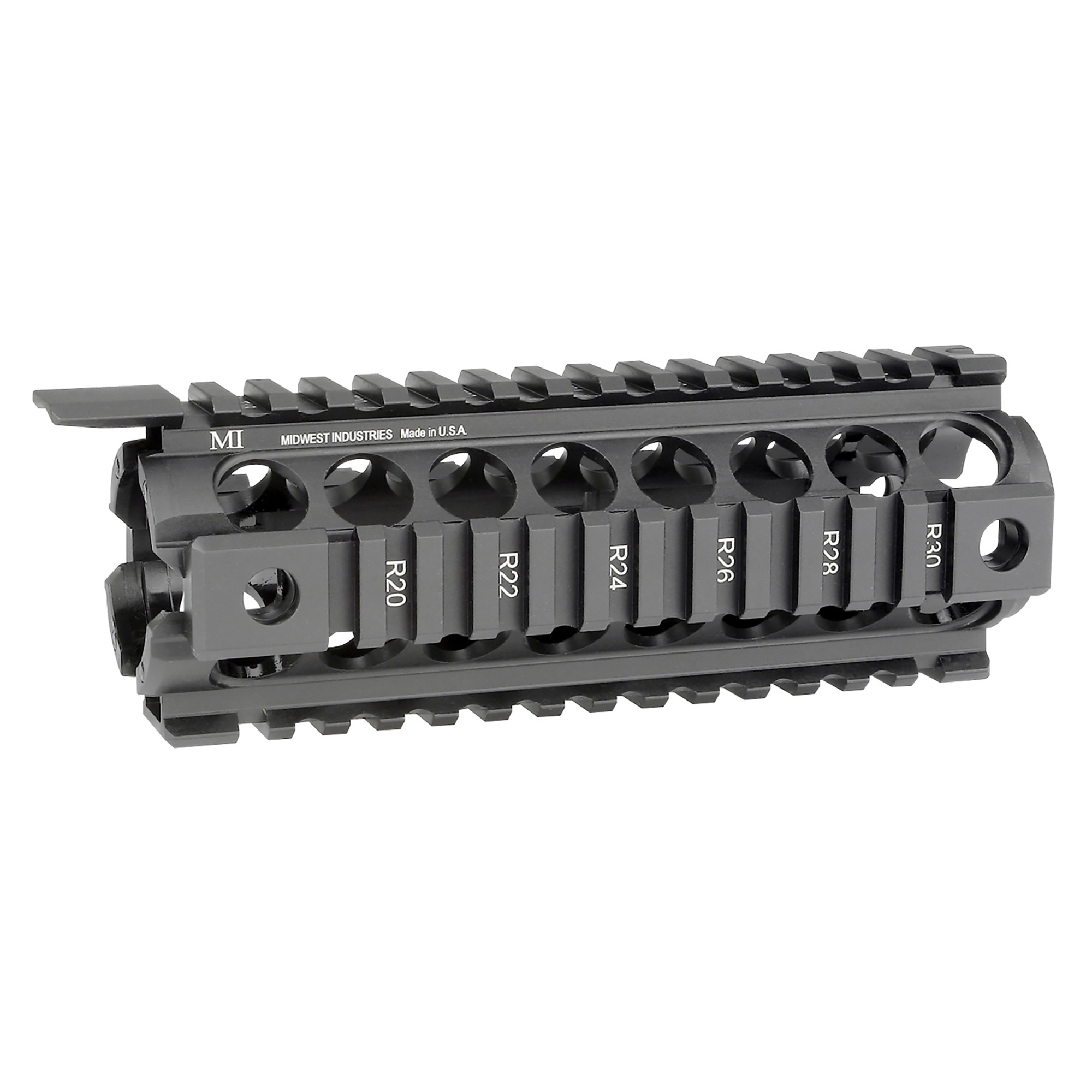 "Midwest Industries Carbine Length MI Gen2 Two Piece Drop-In-Handguard installs like factory plastic handguards. Midwest Industries is a proven leader in the firearm industry. Made in America"" focusing on the small details to make your rifle platform better. The addition of their drop in handguard to your rifle platform creates the rail space you need to add your accessories. It has Gen2 design with four anti-rotation QD sockets for push button swivels. It is constructed from 6061 aluminum hard coat anodized and compatible with most gas piston systems."