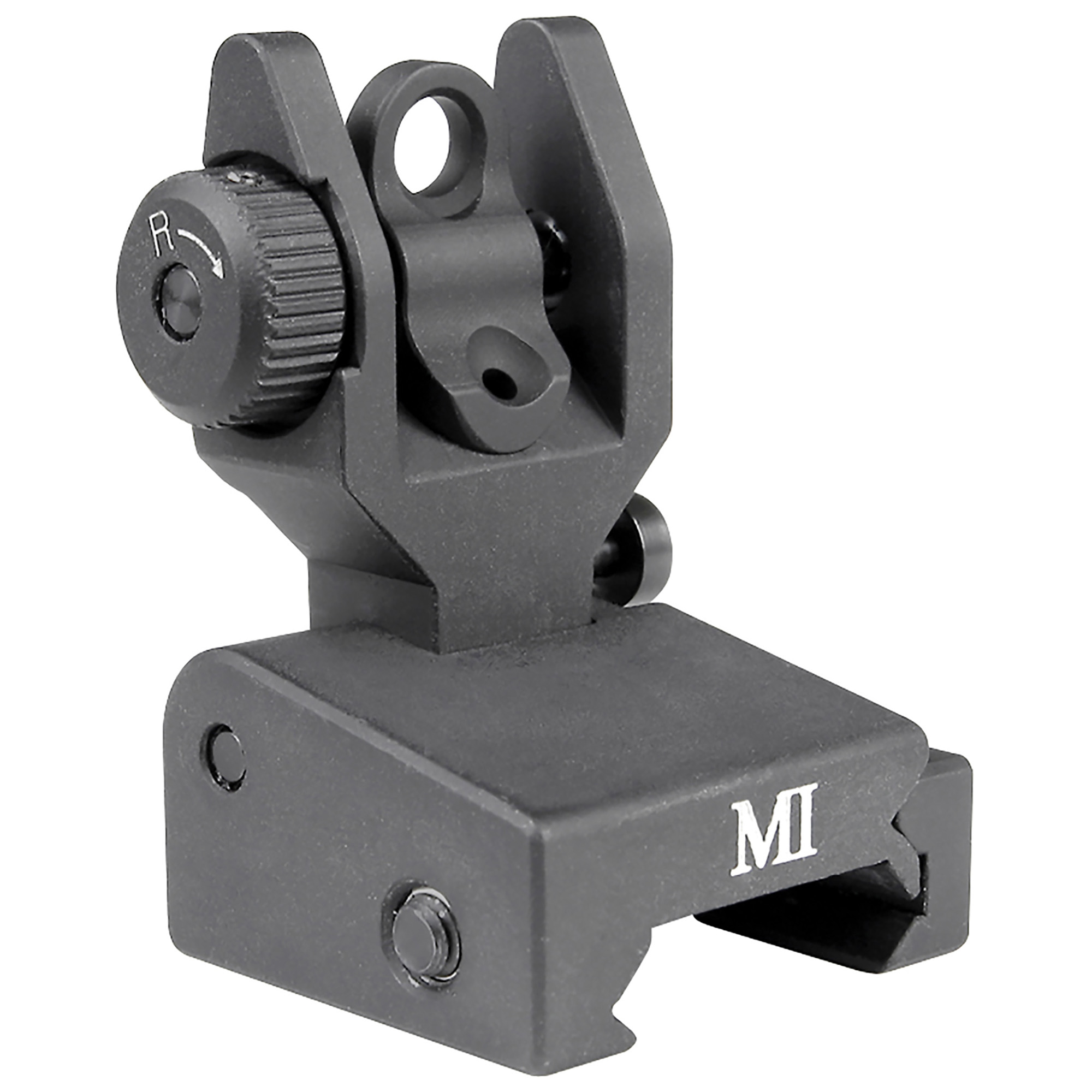 "The Same Plane Low Profile Rear Sight is constructed of high quality 6061 aluminum"" hardcoat anodized for a lifetime of service. The rear sight folds from the rear and locks in the raised position using a ball bearing pivot detent. A micro style windage knob features the same .49 MOA as on M16 rifles (.65 MOA on M4 rifles)."