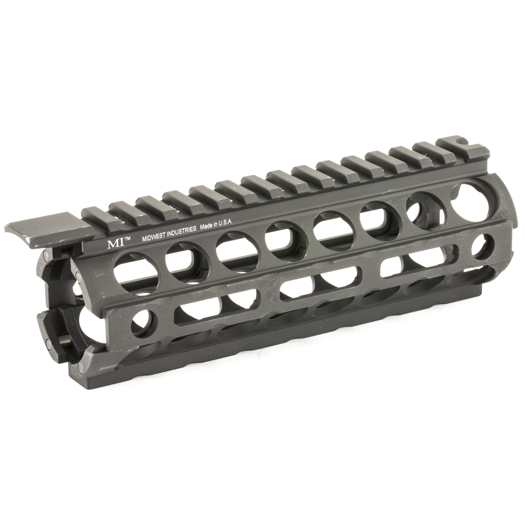 Midwest Industries MI AR-15/M16 M-Series Carbine Length M-Lok Two Piece Drop-In Handguard is incredibly lightweight. It installs in minutes like factory handguards and has five anti rotation QD socket locations for QD swivel rings. It has a monolithic type continuous Mil-Std 1913 top rail.