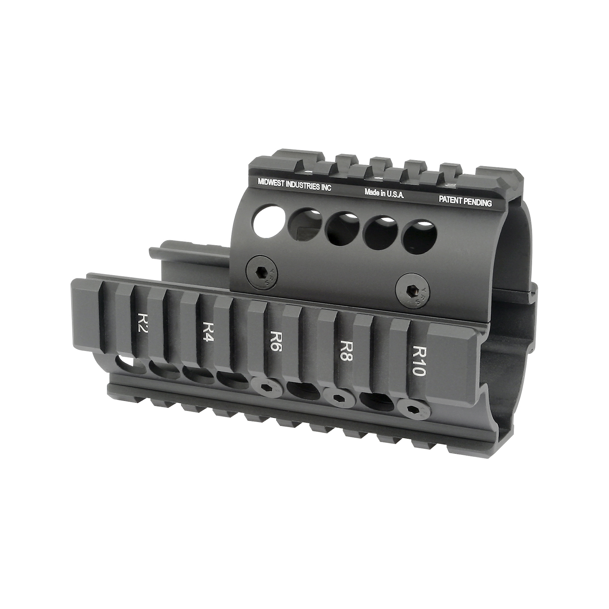 "Midwest Industries is a proven leader in the firearm industry. Made in America"" focusing on the small details to make your rifle platform better. The addition of their AK series of handguards to your rifle platform creates the rail space you need to add your accessories and change the feel of your rifle with a new streamline design. This Mini Draco Pistol 4-Rail Handguard has high quality T-marked mil-spec 1913 rails for lights"" lasers and optics. It installs in minutes using nothing but the wrenches that come in the kit."