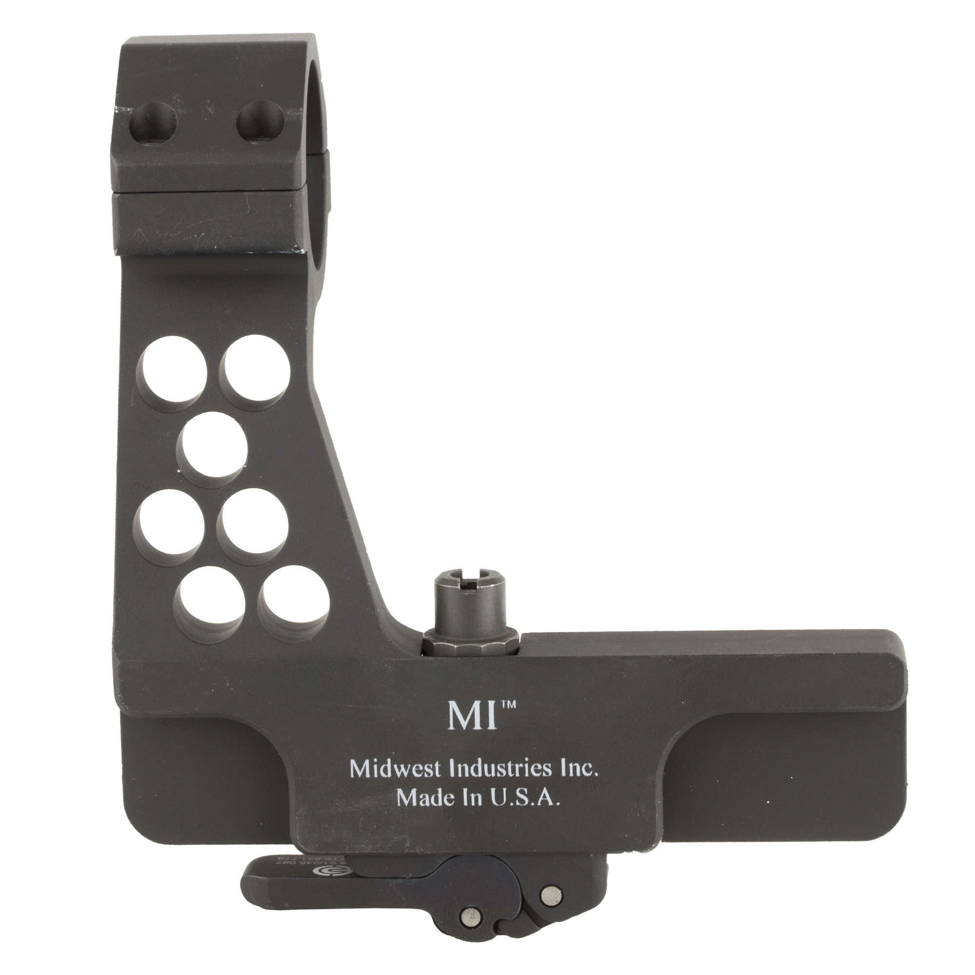 Side rail 30mm red dot mount for AK type rifles made by Midwest Industries.