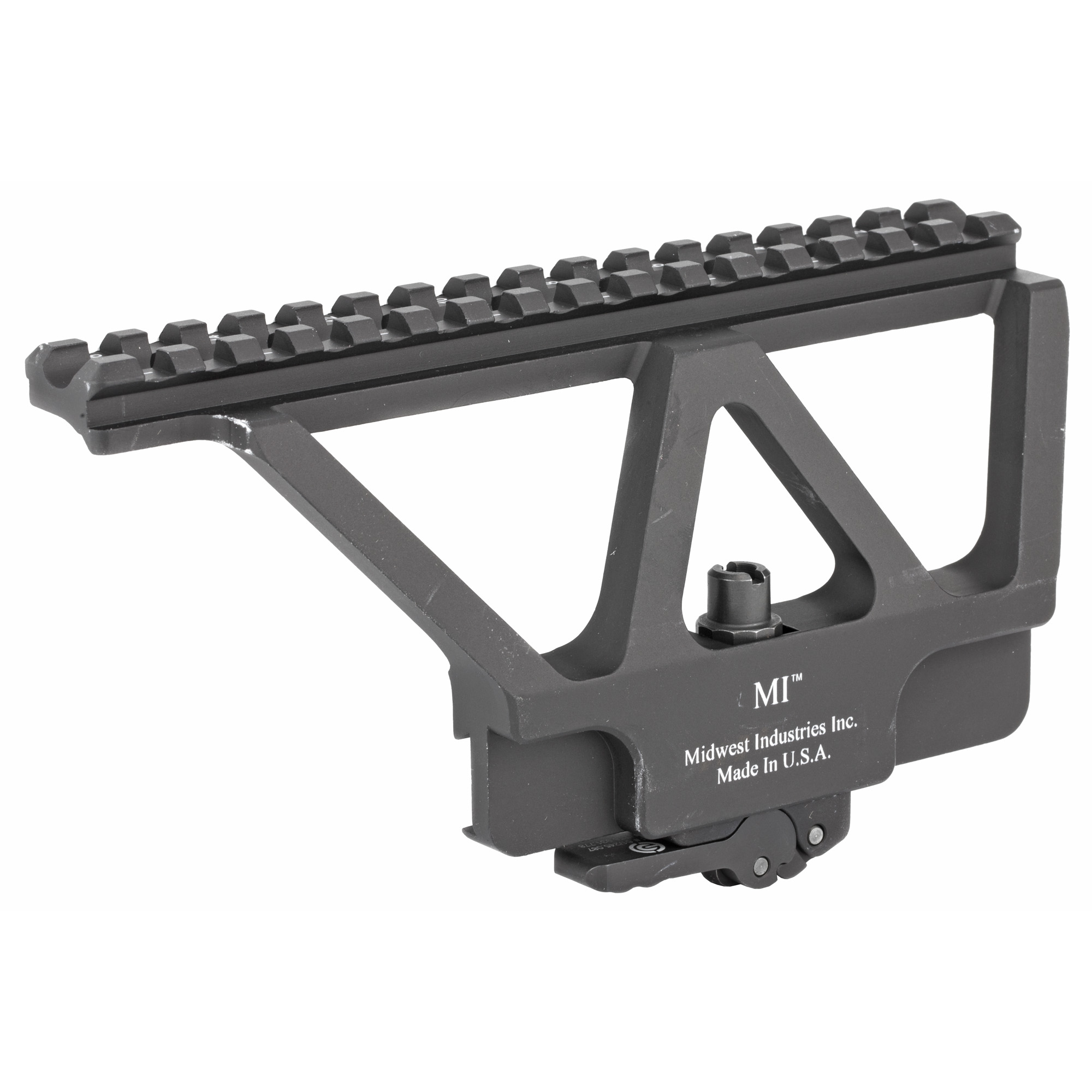 "Railed scope mount for AK type rifles that attaches to the side mounting system"" made by Midwest Industries."
