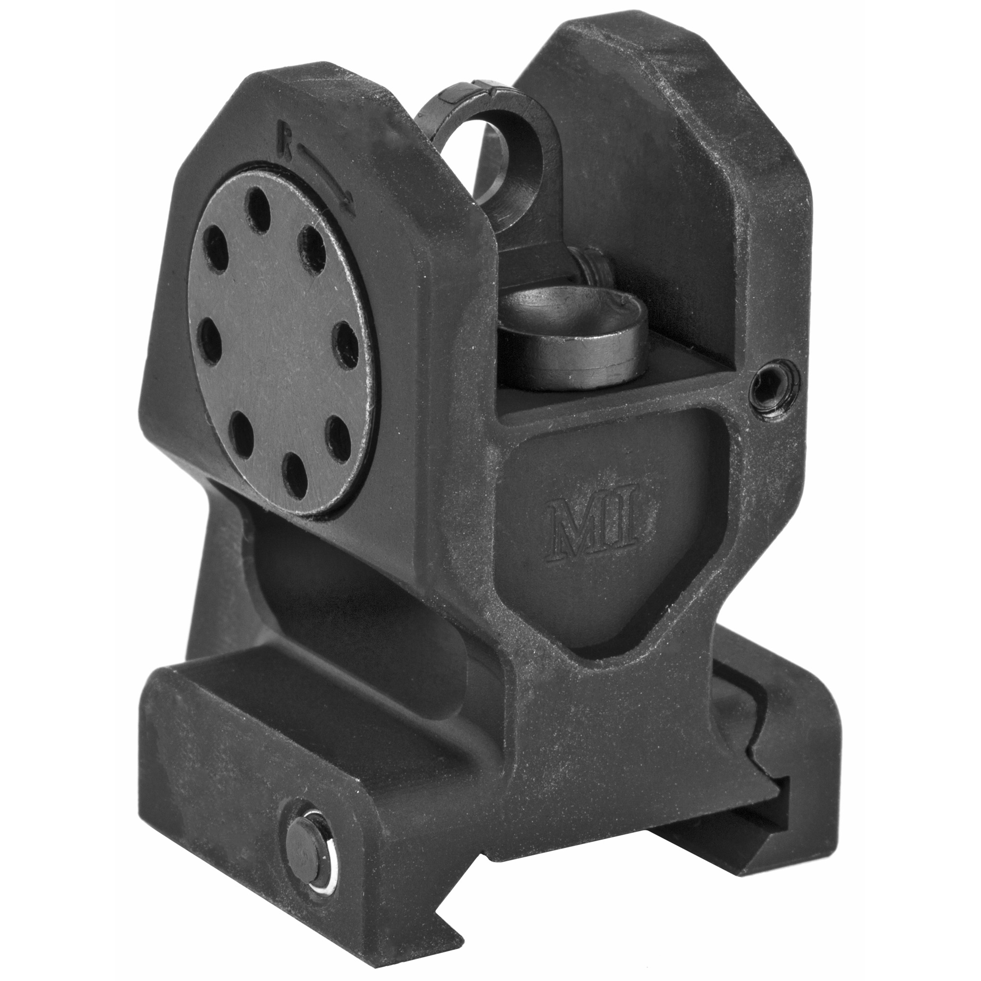 The Midwest Industries combat rear iron sight uses a standard A2 rear sight aperture which is protected by billet machined T6 6061 aluminum. 100% US made.