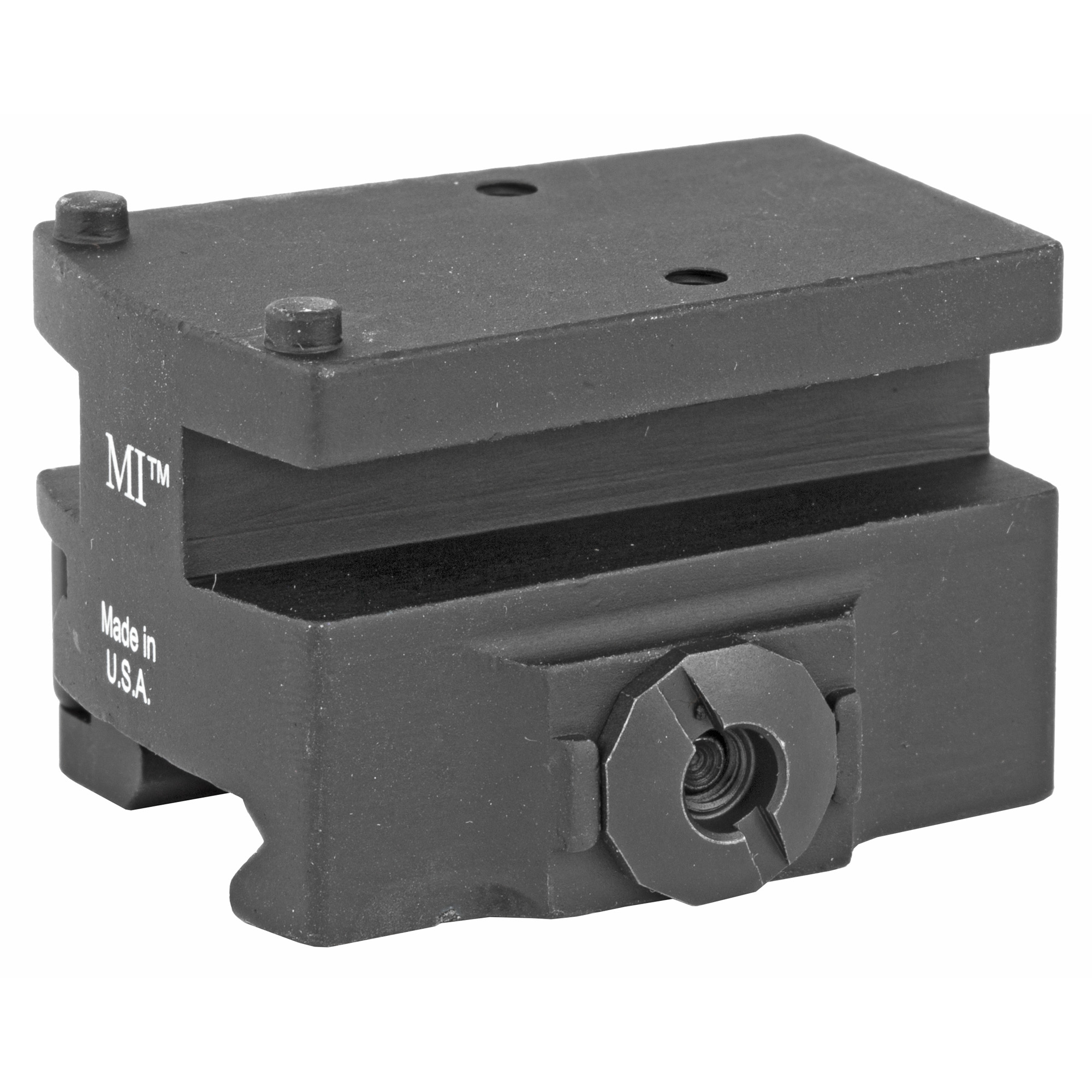 Co-witness Trijicon RMR QD mount made by Midwest Industries.