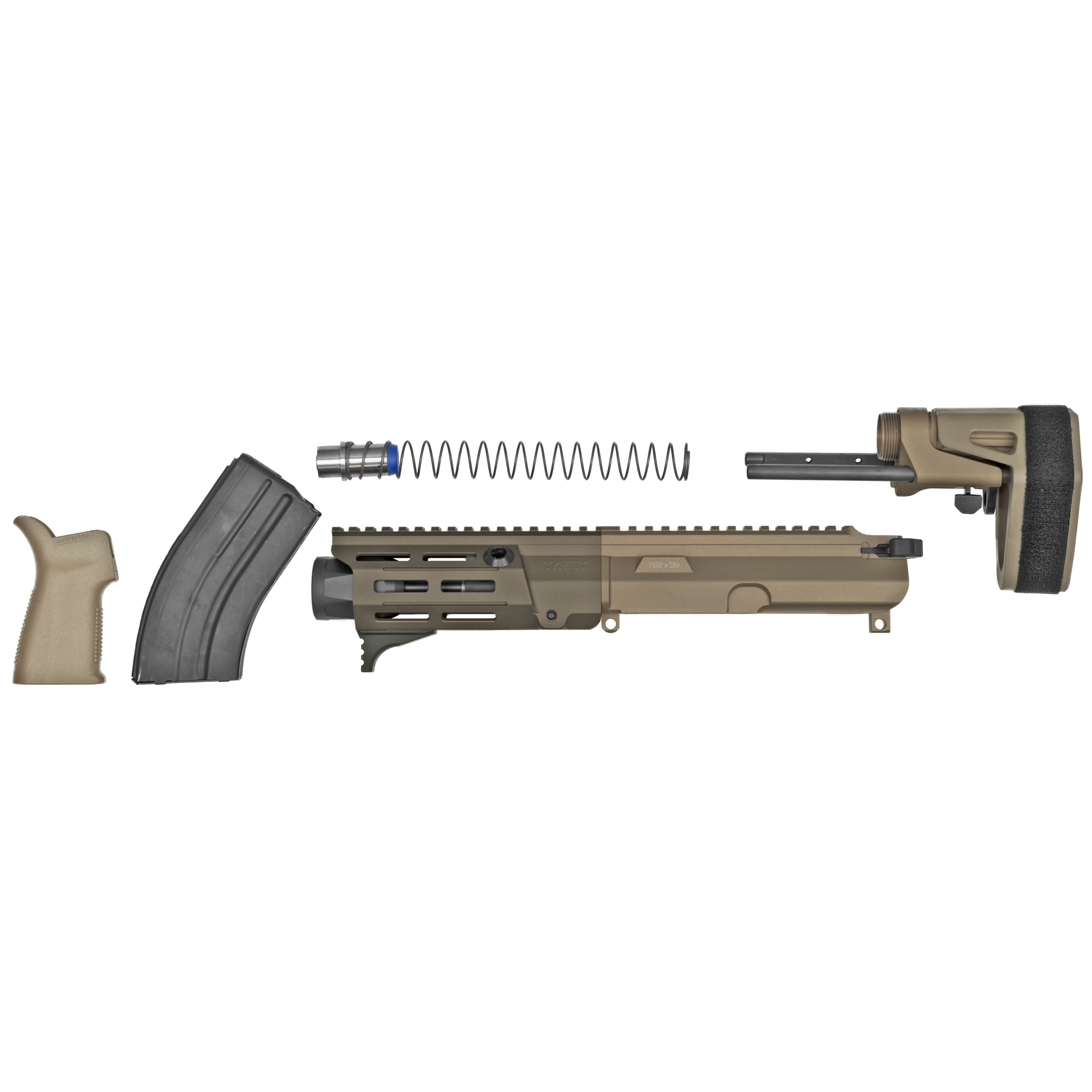 """Born from the SOCOM PDW solicitation"""" the NEW Maxim Defense PDX(TM) U.R.G. is designed to handle the fierce demands of the Tier 1 community. The PDX(TM) U.R.G. dominates in close quarter encounters and achieves maximum energy on target without sacrificing accuracy at distance. At just 14"""" in overall length"""" the PDX(TM) U.R.G. is the ultimate choice for when concealment and personal defense is non-negotiable. At the heart of the PDX(TM) KIT is the newly developed Maxim SCW(TM) stock system. This patent-pending design cuts down the length of the stock to 4"""" and offers an integrated BCG with interchangeable buffer weights to give you the flexibility to maximize performance and versatility without sacrificing functionality or form. The PDX(TM) KIT is also equipped with newly invented Maxim HATEBRAKE(TM) Muzzle Booster. This patent-pending device significantly reduces recoil"""" decreases the flash signature"""" pushes gasses and concussion waves downrange away from the operator improving overall execution in short barrel pistols and rifles. The PDX Kit uses a Direct Impingement system. The PDX Kit comes with everything you need to turn your lower receiver into a Maxim Defense PDX"""