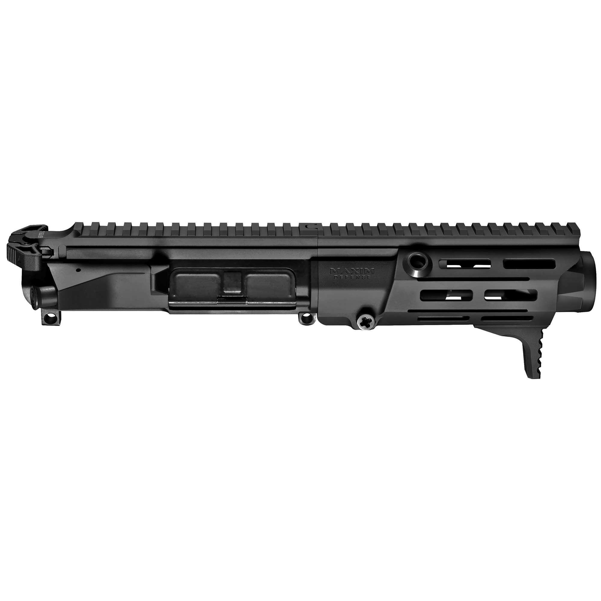 """The NEW Maxim Defense PDX(TM) U.R.G is built to handle the fierce demands of the Tier 1 community and designed to install on any Mil-Spec lower receiver. With the PDX(TM) U.R.G"""" you dominate close quarter encounters and achieve maximum energy on target without sacrificing accuracy at distance. At just 14"""" in overall length and a 5.5"""" barrel"""" the PDX(TM) U.R.G. is the ultimate choice for when concealment and personal defense is non-negotiable. The PDX(TM) U.R.G. is also equipped with newly invented Maxim HATEBRAKE(TM) Muzzle Booster. This patent-pending device significantly reduces recoil"""" decreases the flash signature"""" pushes gasses and concussion waves downrange away from the operator improving overall execution in short barrel pistols and rifles. The PDX U.R.G. uses a Direct Impingement system."""