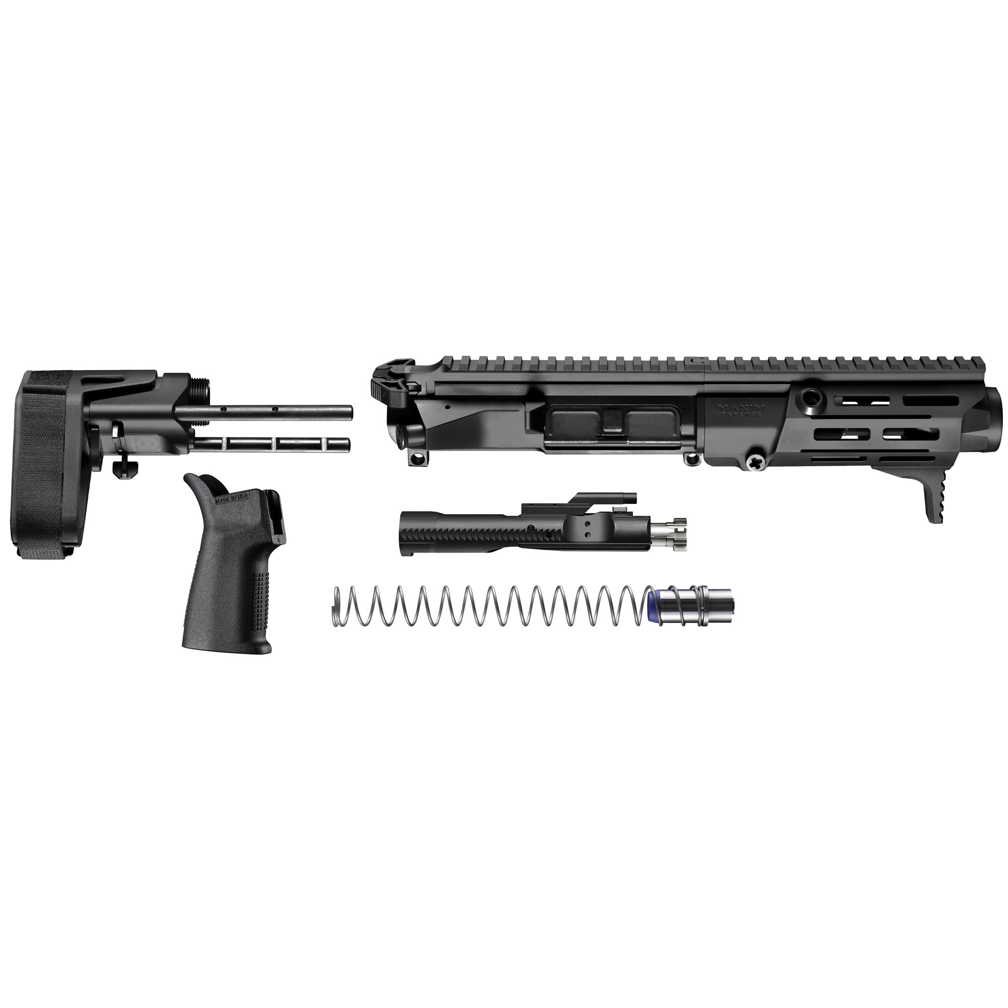 """Born from the SOCOM PDW solicitation"""" the NEW Maxim Defense PDX(TM) U.R.G. is designed to handle the fierce demands of the Tier 1 community. The PDX(TM) U.R.G. dominates in close quarter encounters and achieves maximum energy on target without sacrificing accuracy at distance. At just 14"""" in overall length"""" the PDX(TM) U.R.G. is the ultimate choice for when concealment and personal defense is non-negotiable. At the heart of the PDX(TM) KIT is our newly developed Maxim SCW(TM) stock system. This patent-pending design cuts down the length of the stock to 4"""" and offers an integrated BCG with interchangeable buffer weights to give you the flexibility to maximize performance and versatility without sacrificing functionality or form. The PDX(TM) KIT is also equipped with newly invented Maxim HATEBRAKE(TM) Muzzle Booster. This patent-pending device significantly reduces recoil"""" decreases the flash signature"""" pushes gasses and concussion waves downrange away from the operator improving overall execution in short barrel pistols and rifles. The PDX Kit uses a Direct Impingement system. The PDX Kit comes with everything you need to turn your lower receiver into a Maxim Defense PDX"""