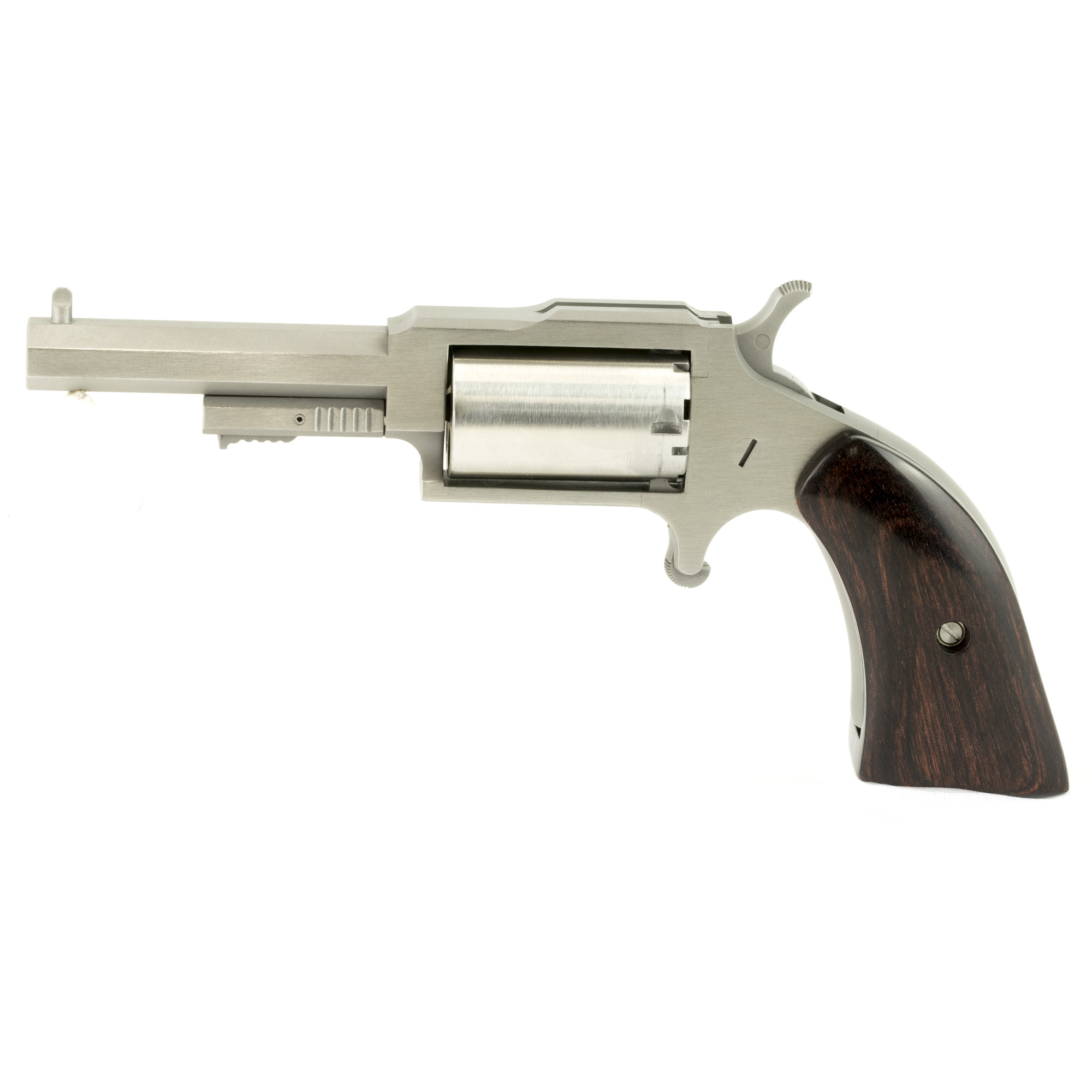 "Their 1860 Series"" also known as ""The Earl"""" ""The Hogleg"" and ""The Sheriff"" are five-shot"" single action"" 1860's- styled mini- revolver chambered in 22 Magnum. Named after the NAA gunsmith who originally developed the product"" with its faux loading lever (which secures the cylinder pin)"" ""The Earl"" resembles a 150-year-old percussion revolver then common in the Old West. With its heavy octagonal barrel"" top strap channel and bead front sight"" ""The Earl"" could become your favorite plinker (pray for the snake"" rodent"" or tin can that dares cross your path!). With available flap-holster made of belt grade leather"" strap on ""The Earl"" for an imaginative trip back to a simpler time. This is the ""Sheriff"" model"" the shortest of the three. It employs the shortest of the heavy octagonal barrel choices. Additionally"" ""The Sheriff"" utilizes push button latch cylinder pin design to enable ease of loading and unloading. Five shot capacity."