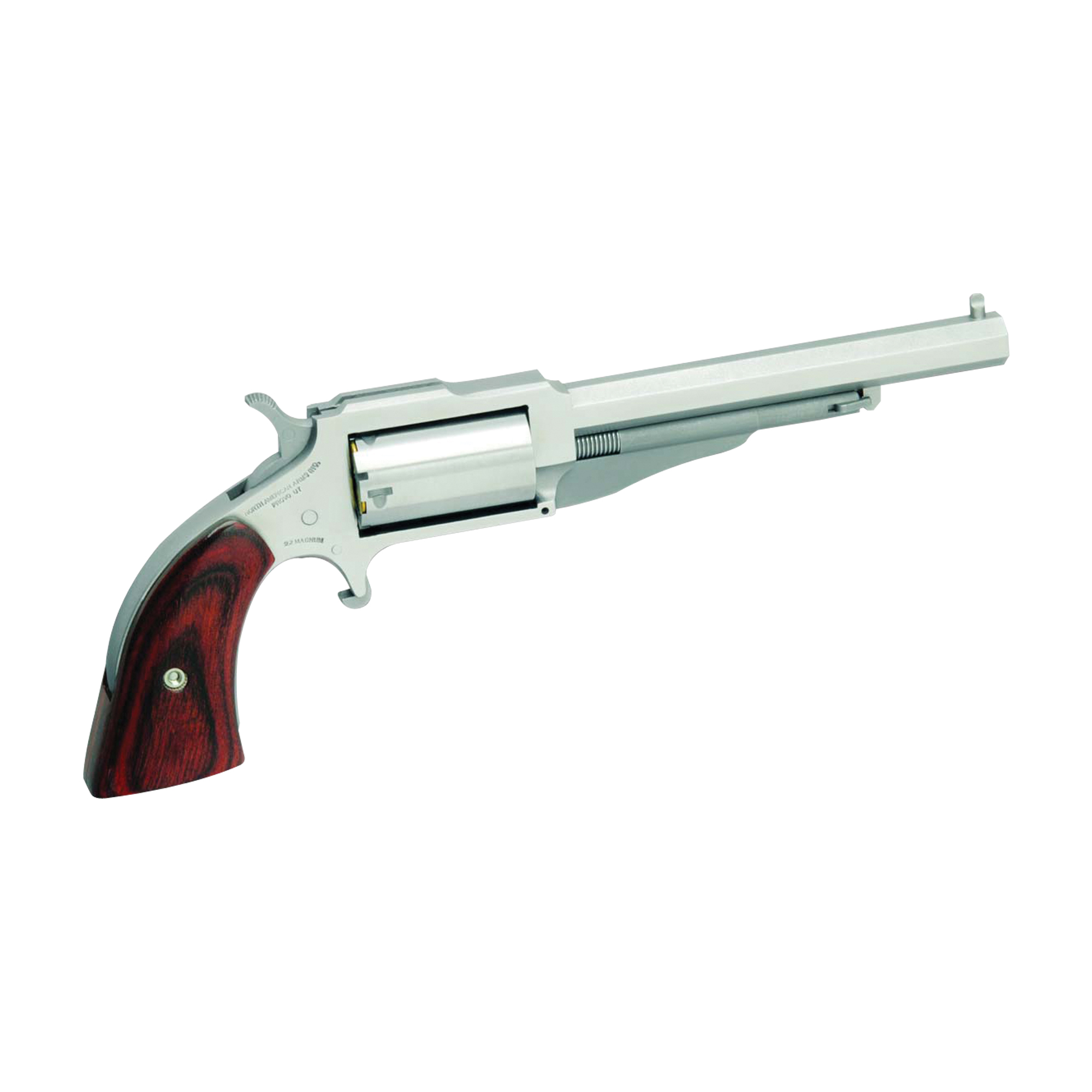 """""""The Earl"""" is a five-shot"""" single action"""" 1860's- styled mini- revolver chambered in 22 magnum. Named after the NAA gunsmith who originally developed the product"""" with its faux loading lever (which secures the cylinder pin)"""" """"The Earl"""" resembles a 150-year-old percussion revolver then common in the Old West. With its heavy octagonal barrel"""" top strap channel and bead front sight"""" """"The Earl"""" could become your favorite plinker (pray for the snake"""" rodent"""" or tin can that dares cross your path!)."""