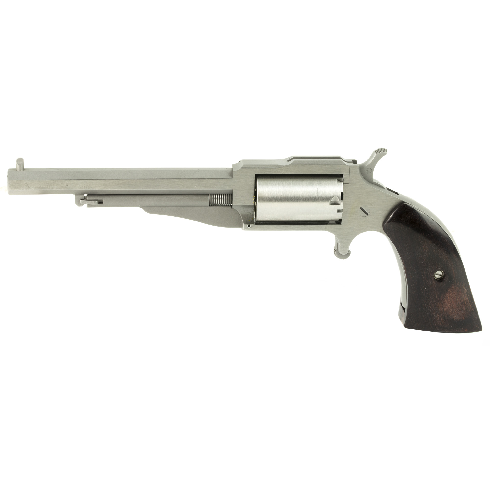 """The Earl"" is a five-shot"" single action"" 1860's- styled mini- revolver chambered in 22 magnum. Named after the NAA gunsmith who originally developed the product"" with its faux loading lever (which secures the cylinder pin)"" ""The Earl"" resembles a 150-year-old percussion revolver then common in the Old West. With its heavy octagonal barrel"" top strap channel and bead front sight"" ""The Earl"" could become your favorite plinker (pray for the snake"" rodent"" or tin can that dares cross your path!)."