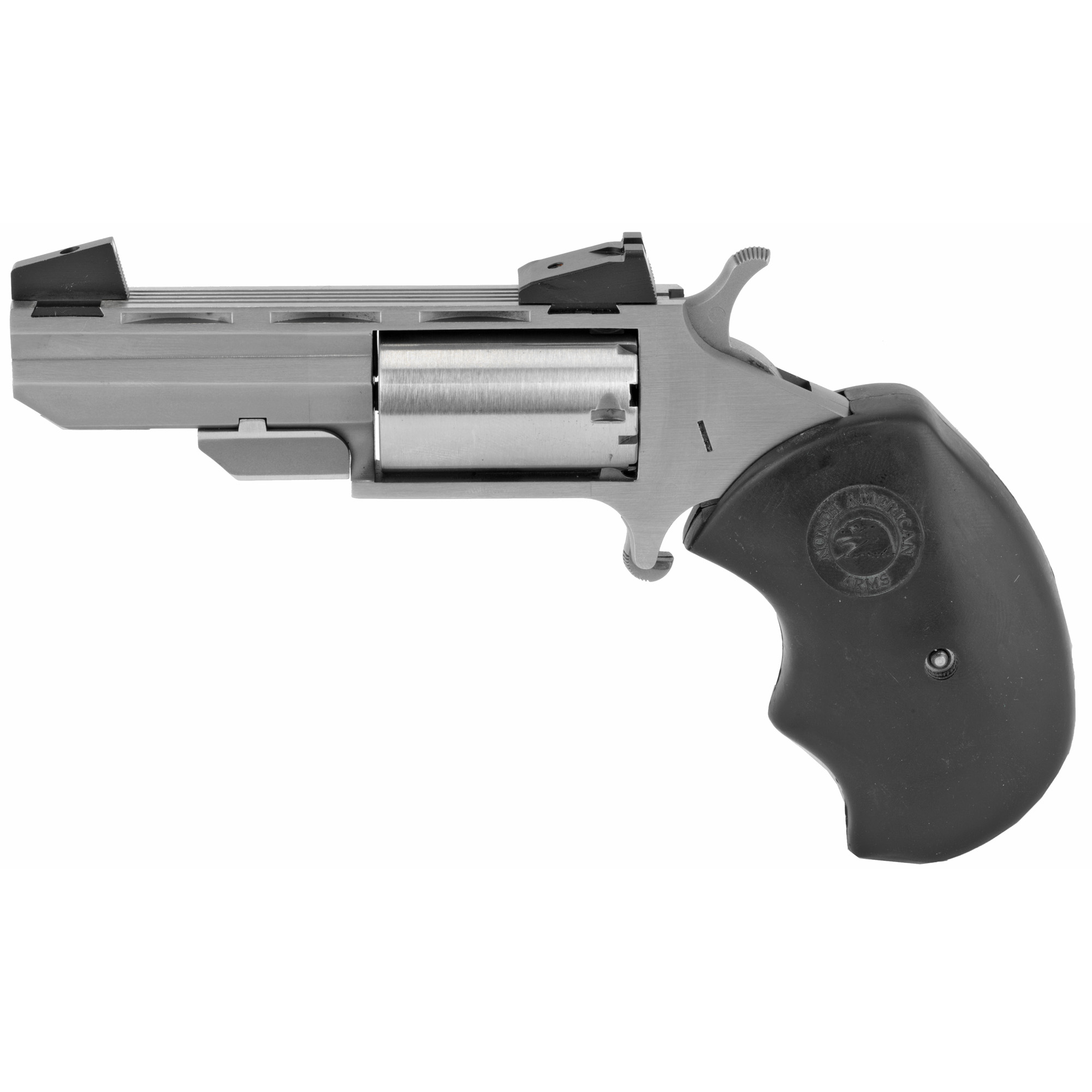 """Their Black Widow and Mini-Master Mini-Revolvers evolved from their popular .22 Magnum frame series and include the time tested design characteristics that are incorporated in all NAA Mini-Revolvers. The result is enhanced stability and accuracy for the shooter. Both the Black Widow and the Mini-Master have a Heavy Vent Barrel"""" a Bull Cylinder"""" Oversized Black Rubber Grips and come with either Adjustable Marble Arms Sights for elevation or Fixed Low Profile Sights"""" also by Marble Arms. 5-Shot capacity."""
