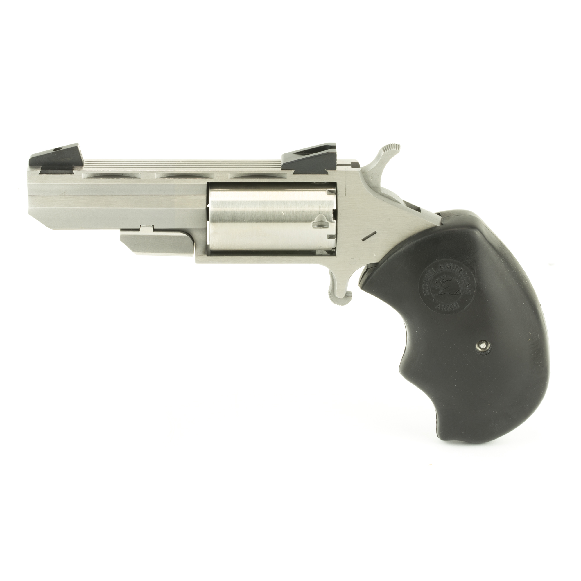 "Their Black Widow and Mini-Master Mini-Revolvers evolved from their popular .22 Magnum frame series and include the time tested design characteristics that are incorporated in all NAA Mini-Revolvers. The result is enhanced stability and accuracy for the shooter. Both the Black Widow and the Mini-Master have a Heavy Vent Barrel"" a Bull Cylinder"" Oversized Black Rubber Grips and come with either Adjustable Marble Arms Sights for elevation or Fixed Low Profile Sights"" also by Marble Arms. 5-Shot capacity."