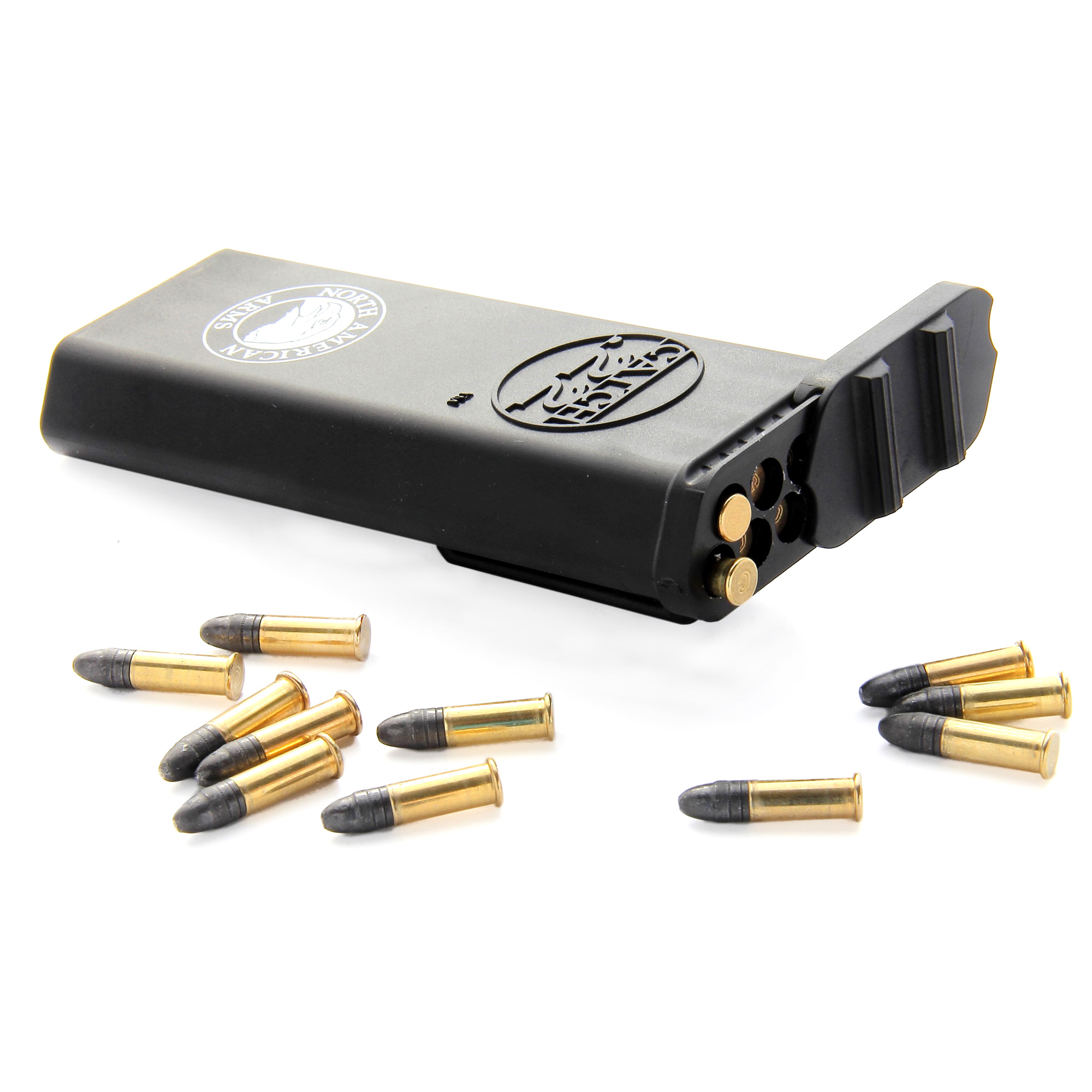 "North American Arms Catch 22 Ammo Carrier Belt Clip"" Holds 50 Rounds of .22 Long Rifle"" 70 Rounds of .22 Short or 30 Rounds of .22 Magnum CATCH22 ammunition."