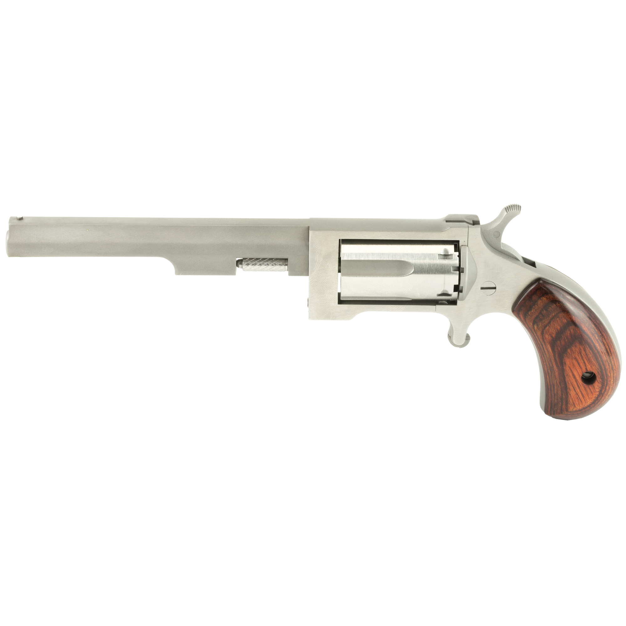 "The Sidewinder features a swing-out cylinder allowing for ""speedy"" reloads without removing the cylinder. As with all of the mini-revolvers"" the frame starts out as an investment casting"" with the barrel and cylinder machined from solid stainless steel bar stock. This allows for precise machining to meet the tolerance levels needed for a firearm of that size. The fit and finish is excellent. The cylinder and sides of the frame are polished"" while the topstrap"" sides of the barrel"" bottom of the frame and backstrap have a matte finish that provides an attractive contrast. The Sidewinder is a five-shot"" single-action-only design with an exposed hammer and an unguarded trigger. The bird's-head profile of the grip has the same dimensions as the other Mini-Revolvers and will accommodate any of the optional stocks. Due to the internal design and the location of the cylinder hand and stop"" the Sidewinder opens to the right side of the frame. To open the cylinder"" the hammer is set on half-cock. The knurled end of the ejection rod is then pushed forward to release the cylinder. Once the cylinder is in the open position"" the ejector rod is depressed"" allowing the empty cases to be partially ejected. The size and design requires the empty cases to be individually removed"" and the cylinder has to be rotated to allow the empties to clear the stock. 5-Round capacity."