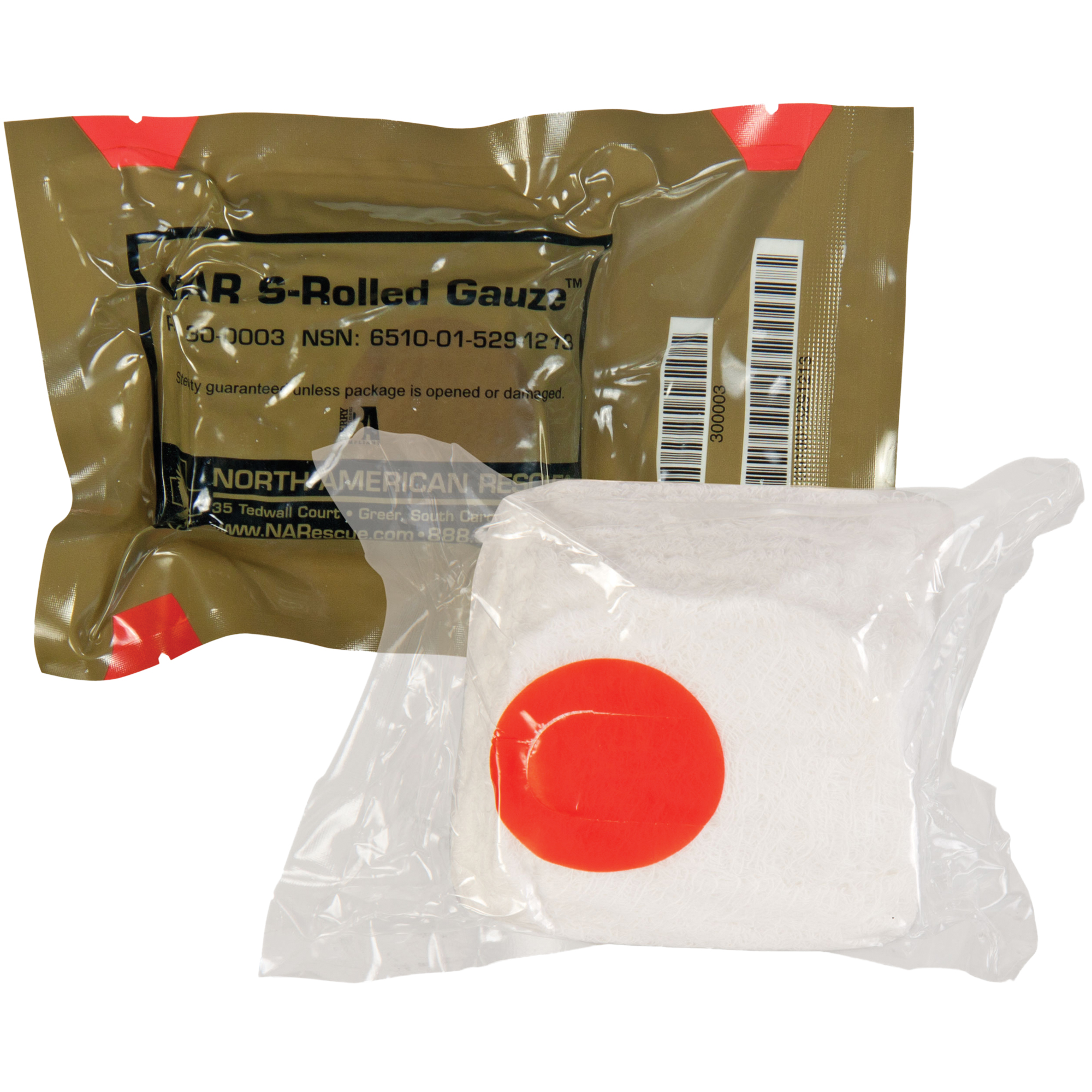 "North American Rescue's S-Rolled Gauze is the ideal solution for a compact"" easy to use"" cotton s-rolled gauze designed for both linear and basic bandaging. Made of premium cotton"" NAR's S-Rolled Gauze can be used to control hemorrhage in conjunction with a compression bandage"" used as backing gauze for hemostatic dressings or for minor wound bandaging. The S-Rolled Gauze is packaged in a unique dispenser that allows for controlled application and protects unused portions from contamination during application. Its low cube space requirement and rugged"" durable vacuum sealed packaging make it easy to fit in both individual first aid kits and medic kits."