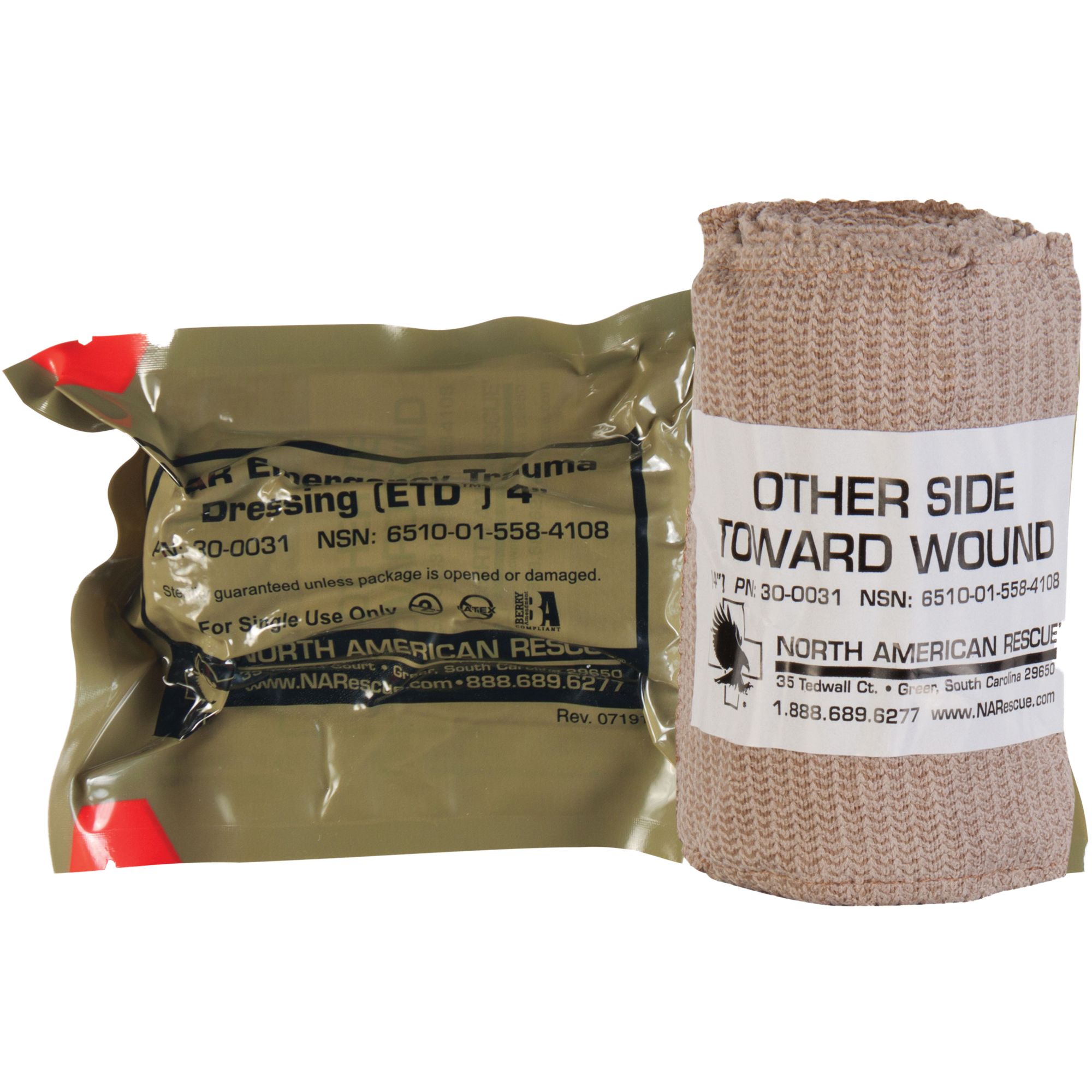 "The Emergency Trauma Dressing (ETD(TM)) series of bandages are engineered using data from over 63 After Action Reviews (AARs) of real-world battle dressing applications. The ETD(TM) consists of a resilient elastic wrap equipped with a sterile non-adherent pad"" durable securing device and innovative Quick-Grip Roll Control configuration. This combination facilitates a rapid"" controlled"" and extremely effective application process in the most demanding conditions. The ETD(TM) can also be used to sling and swath an arm"" to secure splints to an extremity or to perform in any other function requiring an elastic wrap."