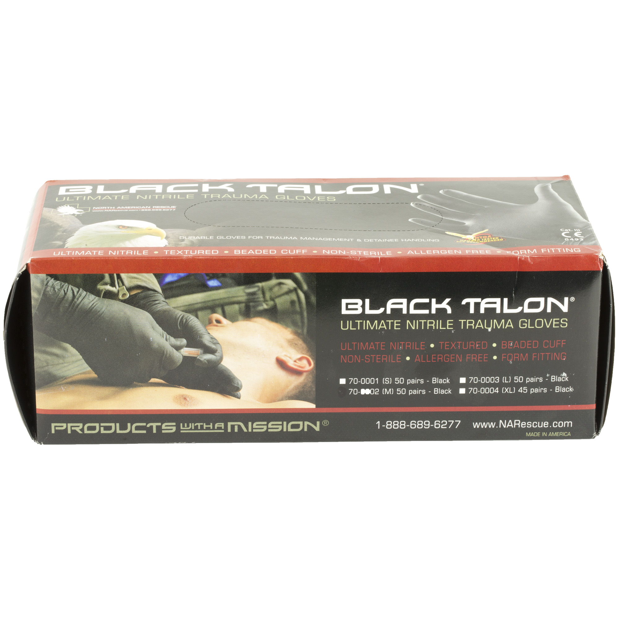 "Black Talon Ultimate Nitrile gloves are made of 100% nitrile material which is free of the allergens found in standard latex gloves. They are engineered to give the users high performance by offering both maximum protection and unsurpassed tactile sensitivity. This careful attention to detail includes textured fingertips to help with fine motor skills"" beaded cuffs for quick and easy donning and a thickened palm for durability and reliability. These ambidextrous gloves are packaged 50 pairs per box (Extra large"" 45 pairs per box); 10 boxes per case. Designed for single-use only."