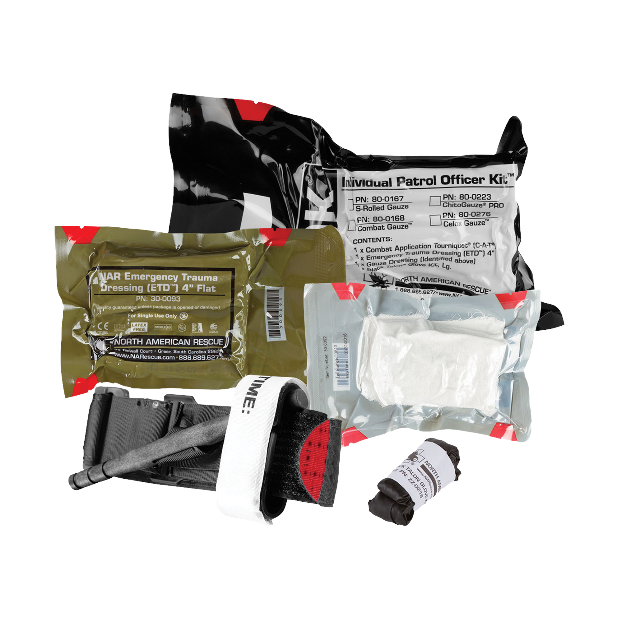"The Individual Patrol Officer Kit (IPOK) from North American Rescue is designed to provide personnel with a cost effective"" compact and durable individual hemorrhage control kit to treat bleeding from penetrating and other traumatic injuries. These kits are packaged for small cube space and designed to fit into a BDU pocket"" vest pouch"" or individual bag"" which allows personnel to keep a compact bleeding control kit on their person"" where it is needed most. The contents are vacuum sealed in an easy-to-open"" rugged"" durable package featuring NAR's Red Tip Technology(R) signature red tear notches."