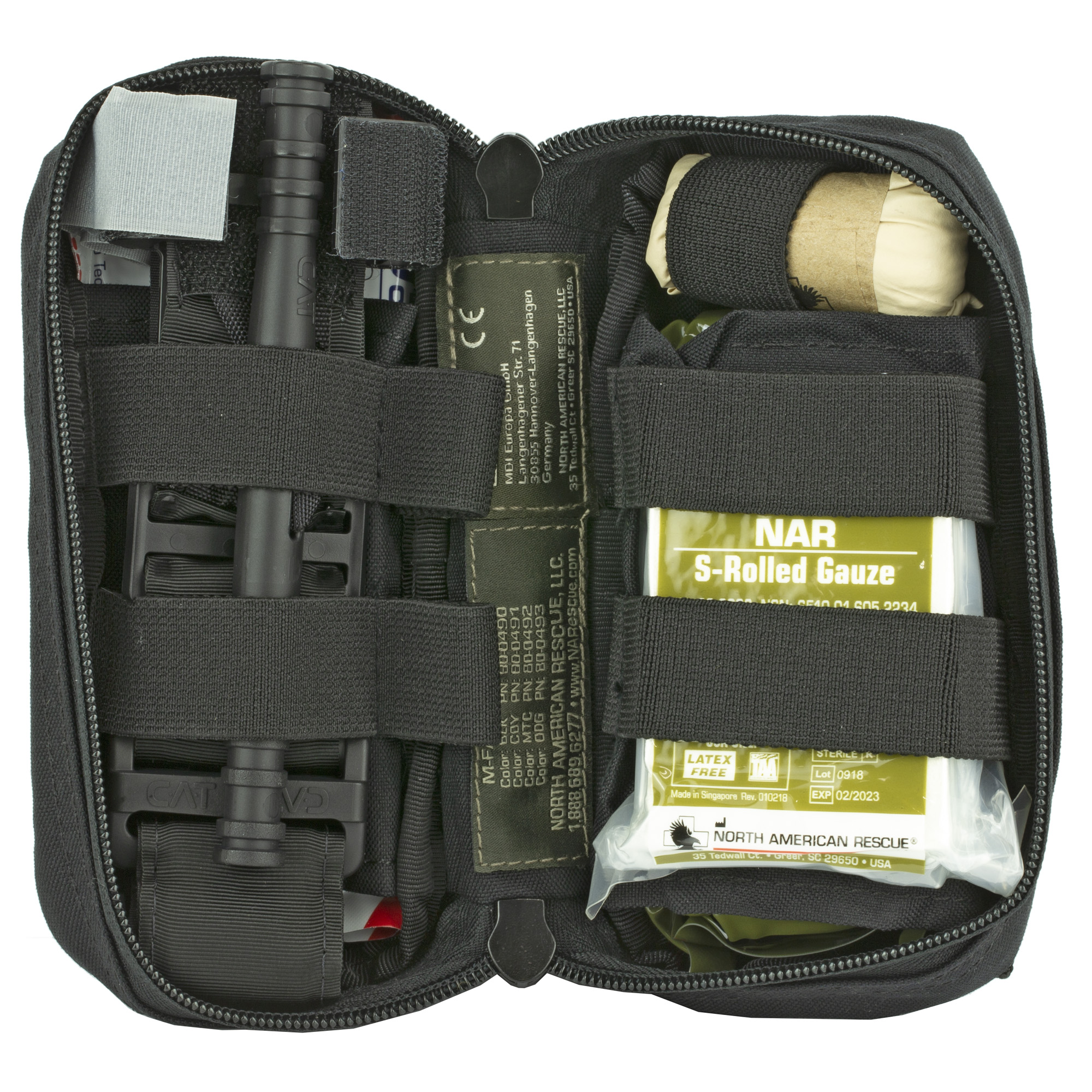 "North American Rescue's most compact"" half size First Aid Kit empowering First Responders with the most requested point-of-wounding equipment in the smallest cube space possible. The M-FAK"" North American Rescue's Mini First Aid Kit"" was designed to be the most compact"" multi-use IFAK for delivering immediate critical care for penetrating"" blast or other traumatic injuries. At half the size of our popular T.O.R.K. platform"" the M-FAK is currently the smallest platform available in our product offering. Despite its reduced size"" this kit comes fully loaded with the critical medical equipment most requested by First Responders operating in the line of duty. Treatment pack out options include Basic"" Basic with Combat Gauze and Advanced versions. The M-FAK's super compact"" 500 Denier nylon bag opens from the side in a clam shell configuration utilizing (2) two main sleeves that open on both ends for easy access and features multiple elastic loops for secure gear organization. The bag's exterior includes a MOLLE backing for mounting in the standard vertical position as well as a 3 in. internal sleeve for accommodating horizontal attachment to your duty belt. The vertical mount can be set to open left-to-right or right-to-left based on shooter preference"" while the horizontal mount on a belt allows opening directly to your C-A-T.(R) tourniquet. Also included are a loop patch on front of the bag for custom user labeling and (3) three MOLLE strips to attach additional gear such as a TQ/Holder (sold separately) if needed."