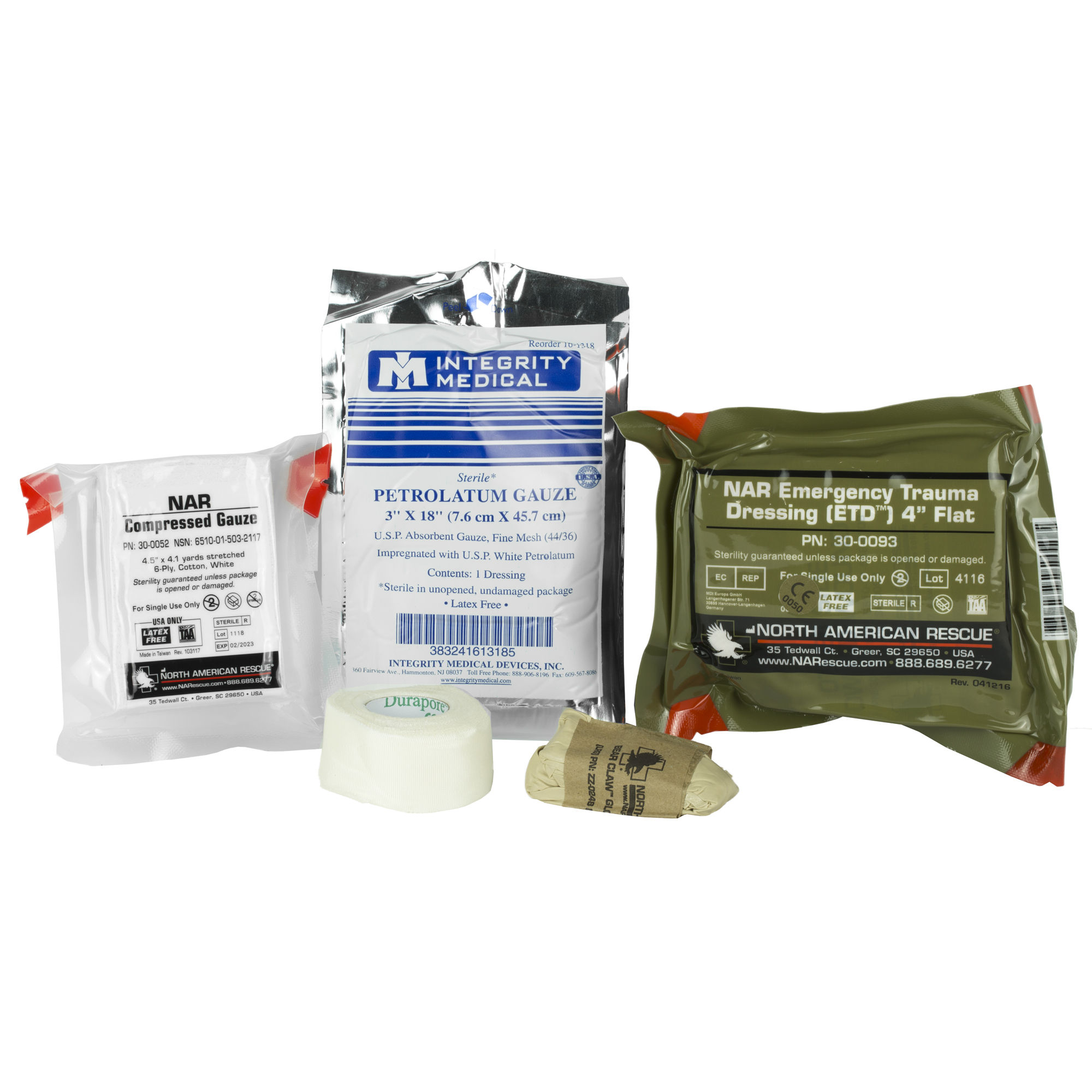 "North American Rescue's compact"" vacuum-sealed Individual Aid Kit is designed to treat bleeding from penetrating and other traumatic injuries. The items in this kit are simple to use by non-medically trained caregivers. The purpose of this kit is to control bleeding and cover penetrating injuries until medically trained responders arrive on scene."
