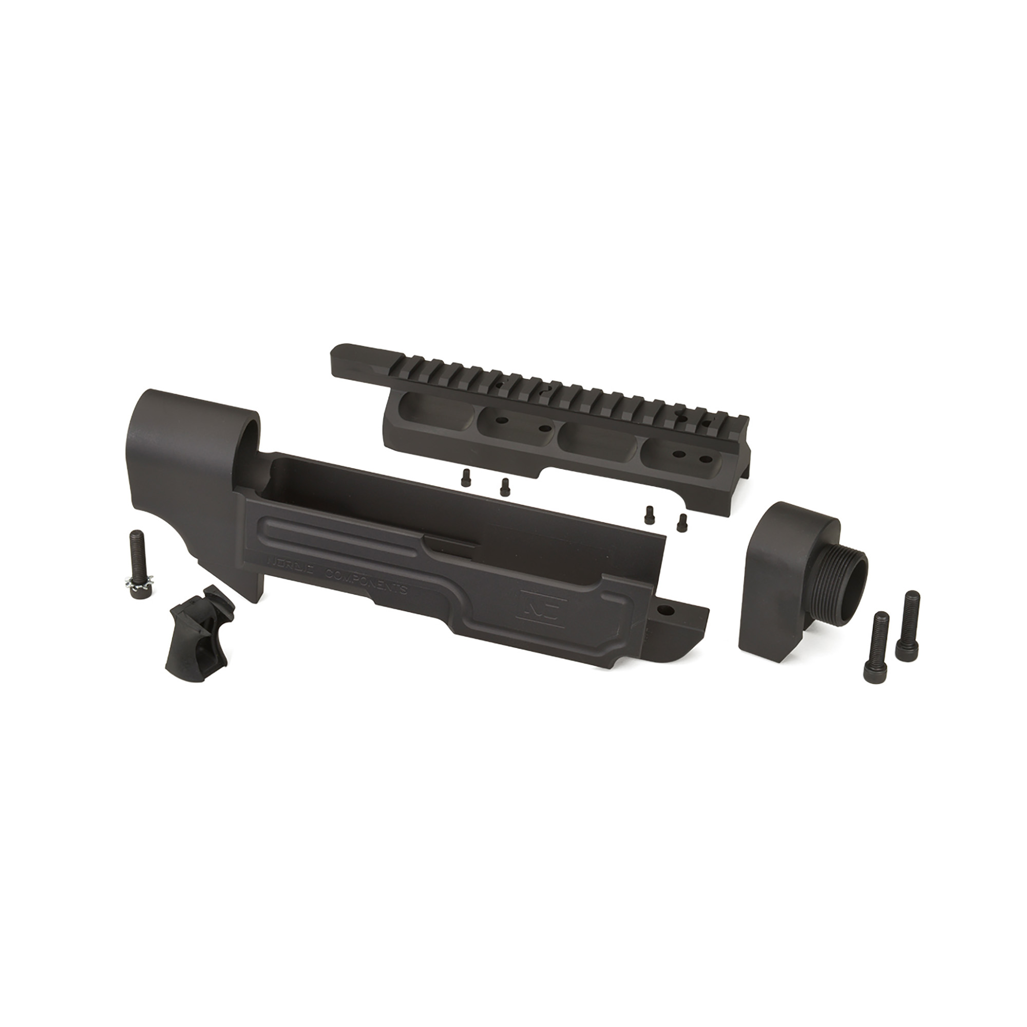 """Nordic Components AR22 Three Piece Stock kit is for converting your Ruger 10/22. It converts the 10/22 stock pattern over to a modular AR-style system. The integral Picatinny top rail accommodates scope mounts and other accessories. Kit includes the lower main body"""" scope mount"""" forearm adapter"""" Nordic Components Gapper"""" mounting hardware and instructions. Not compatible with Takedown Models."""