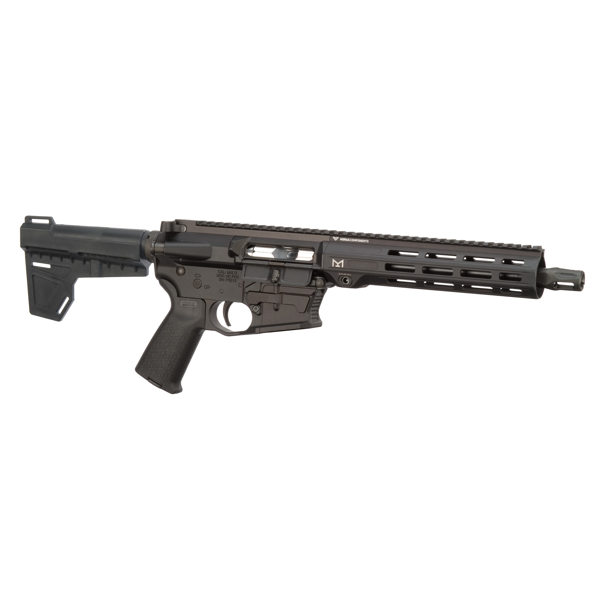 """The Pistol Caliber Carbine features a patented modular lower receiver"""" with removable / interchangeable magwell"""" allowing you to use more than one style of magazine. The carbine handguard has M-LOK slots. Using the same lower"""" this PCC can be configured to run M&P magazines. Includes one 17-round magazine."""