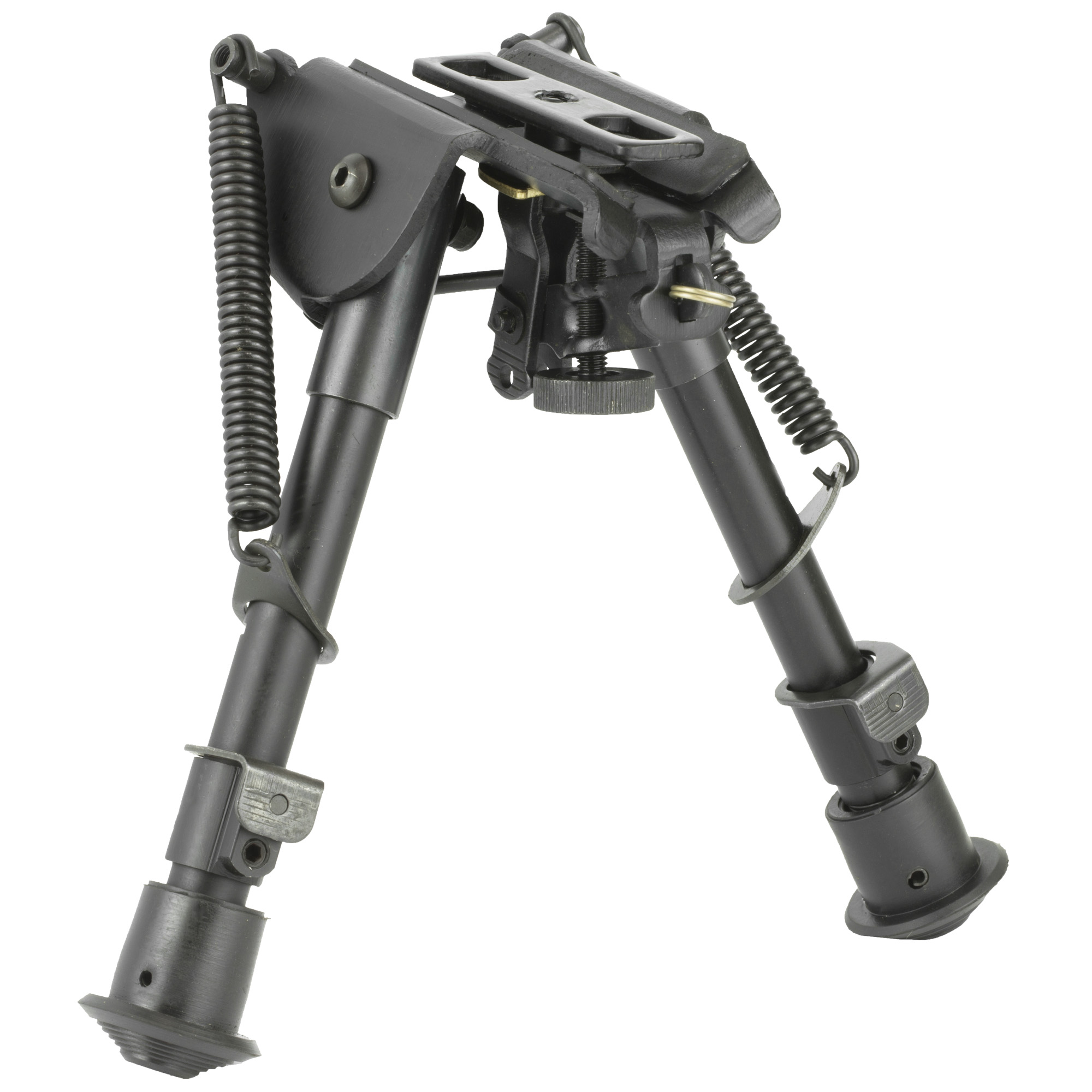"This compact size precision grade bipod with notched legs mounts directly onto most sling swivel studs. It includes three adapters for flexible installation. An AR-15 GI handguard adapter"" universal rifle barrel mount and Weaver/Picatinny type rail adapter with sling stud"