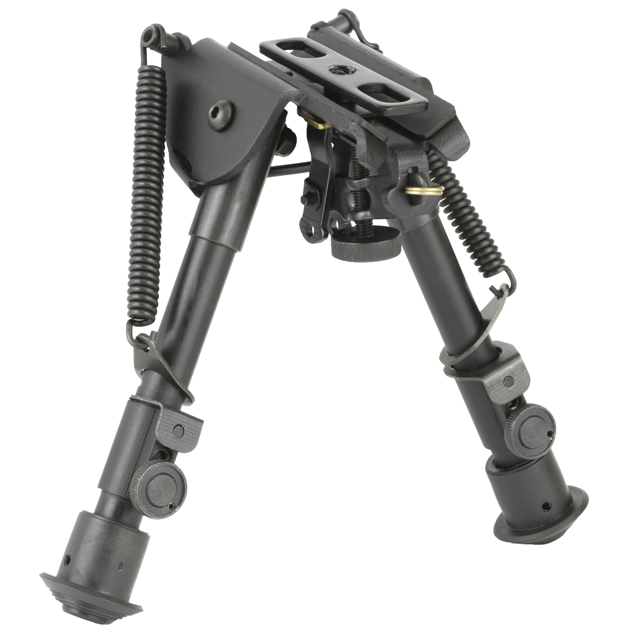 "This compact size precision grade bipod with smooth tension legs mounts directly onto most sling swivel studs. It includes three adapters for flexible installation. An AR-15 GI handguard adapter"" universal rifle barrel mount and Weaver/Picatinny type rail adapter with sling stud"