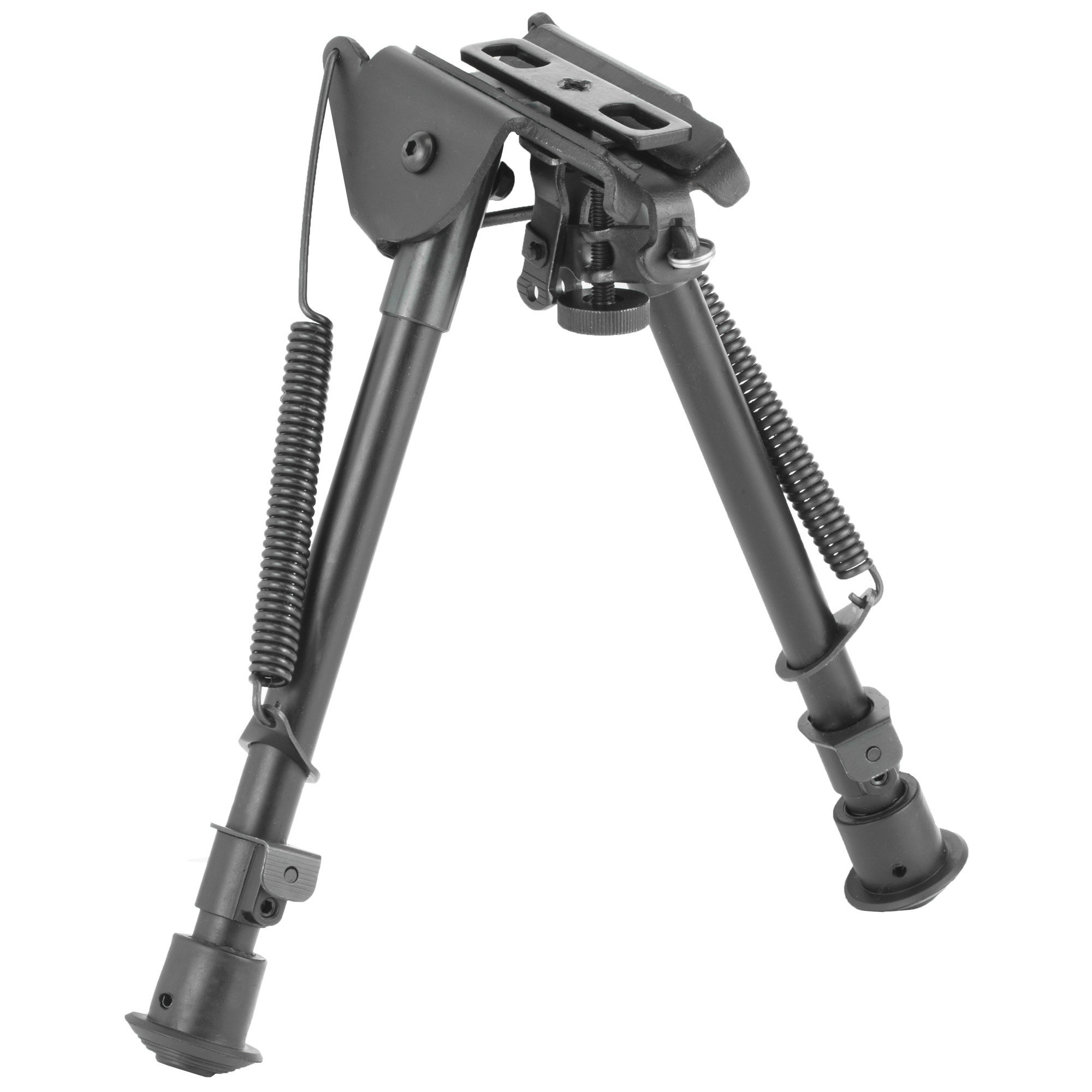 "This full size precision grade bipod with notched legs mounts directly onto most sling swivel studs. It includes three adapters for flexible installation. An AR-15 GI handguard adapter"" universal rifle barrel mount and Weaver/Picatinny type rail adapter with sling stud"