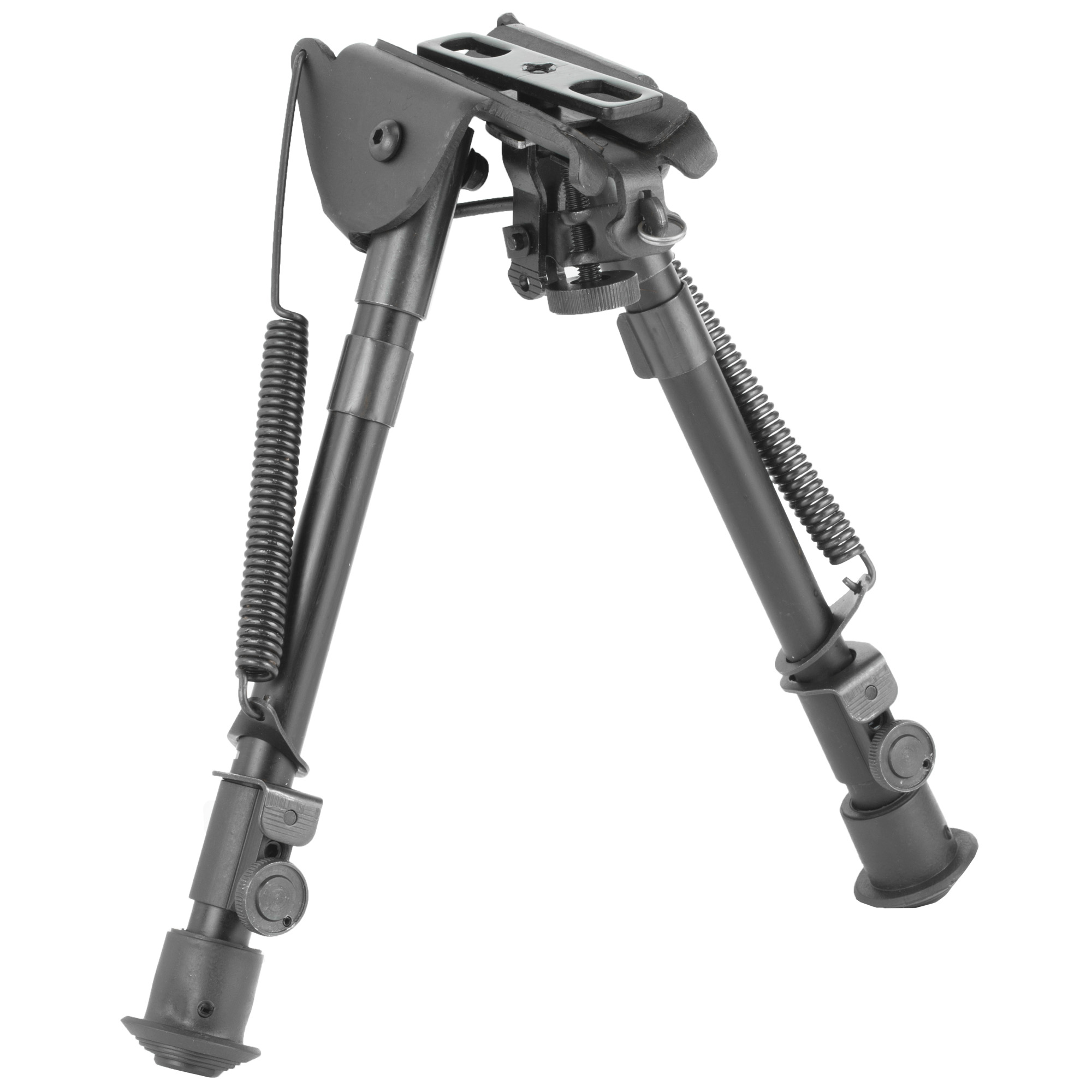 "This full size precision grade bipod with smooth tension legs mounts directly onto most sling swivel studs. It includes three adapters for flexible installation. An AR-15 GI handguard adapter"" universal rifle barrel mount and Weaver/Picatinny type rail adapter with sling stud"