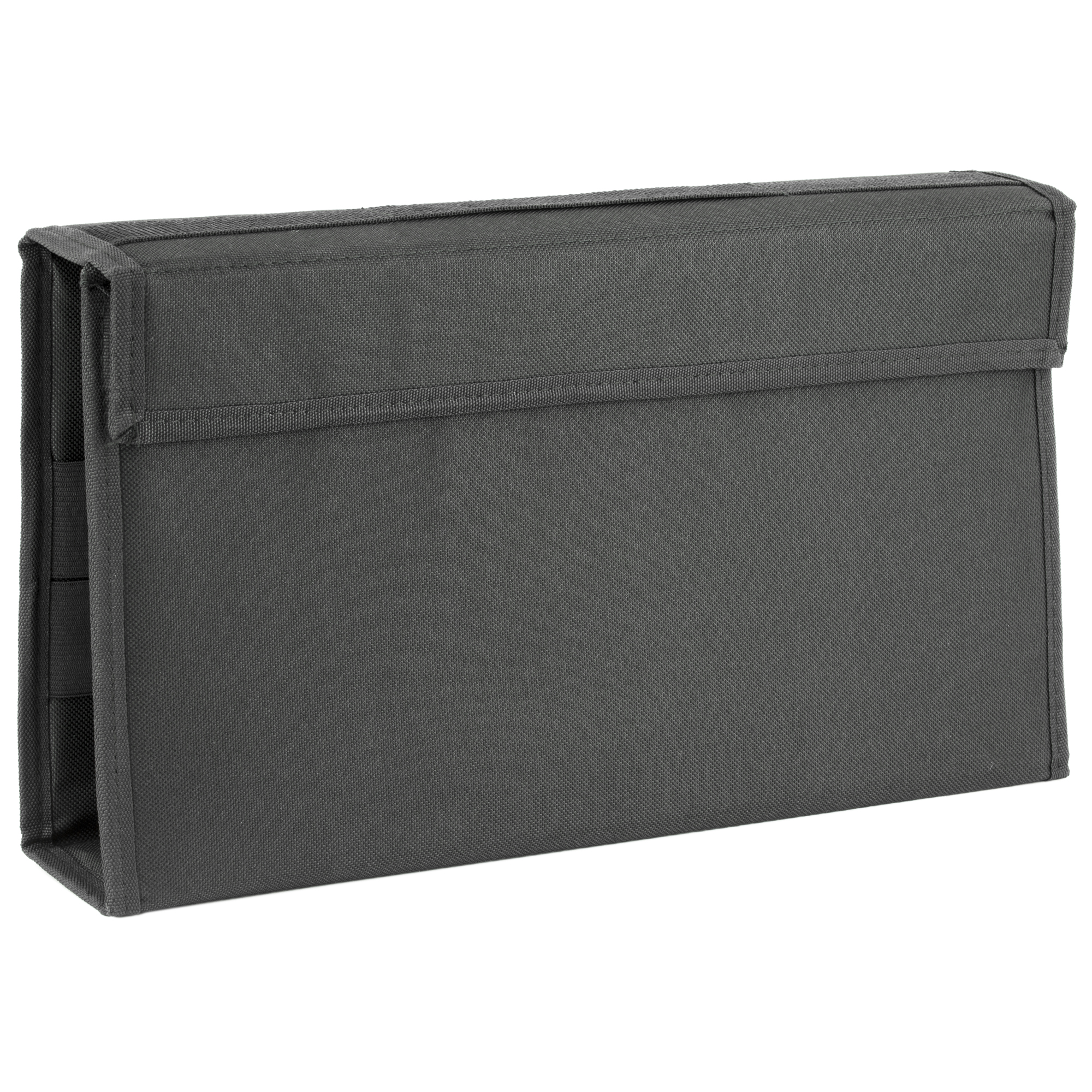 This pistol/rifle magazine wallet provides high capacity storage in a slender profile case. It has a secure full length hook and loop closure and an open flat design to allow rapid access to all magazines.