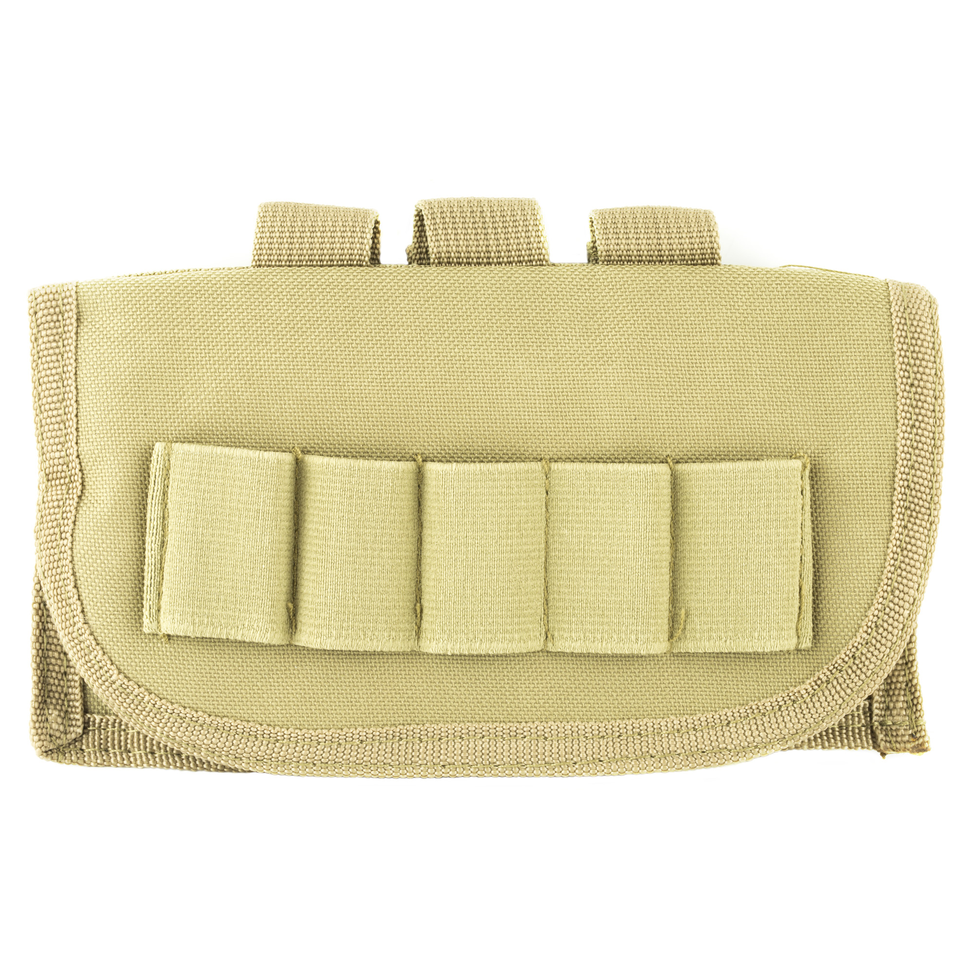 "The Shot Shell Pouch has Elastic Loops to hold a total of 17 Shot Shells. There are 2 rows of 6 Elastic loops inside the Pouch and a single row of 5 Elastic Loops of the front Flap of the Pouch. The Shot Shell Pouch is MOLLE Compatible. The Pouch has three PALS Straps located on the back panel for securing Pouch onto MOLLE webbing. You can attach this Shot Shell Pouch to a: MOLLE Vest"" Shotgun Case"" Shotgun Scabbard"" or any MOLLE compatible gear."