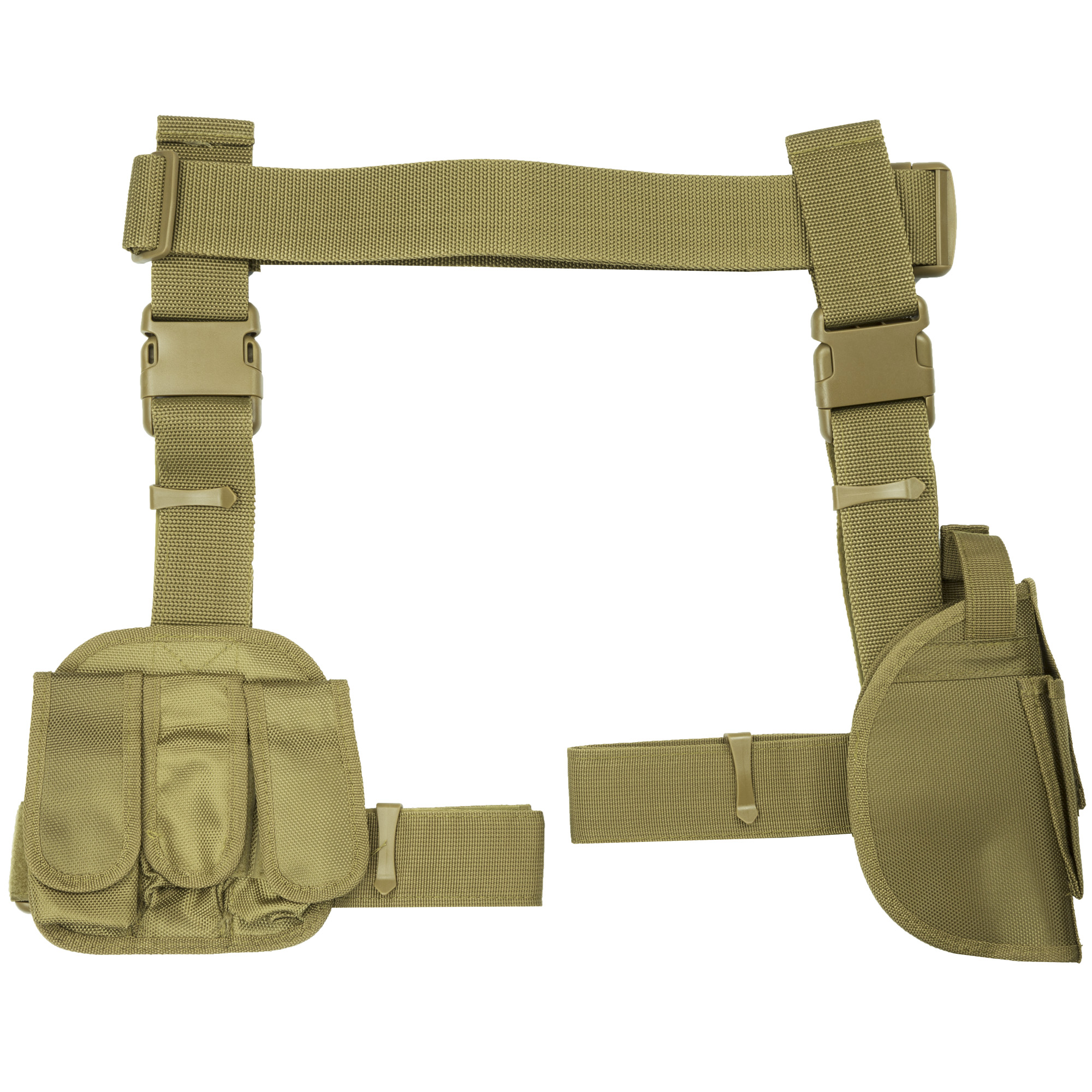 The Universal Drop Leg Holster includes thumb snap and a single mag pouch on the front. It is adjustable for drop leg height with a quick release buckle and an adjustable thigh strap with a quick release buckle. The triple magazine pouch with hook and loop mag flaps secure your pistol magazines.