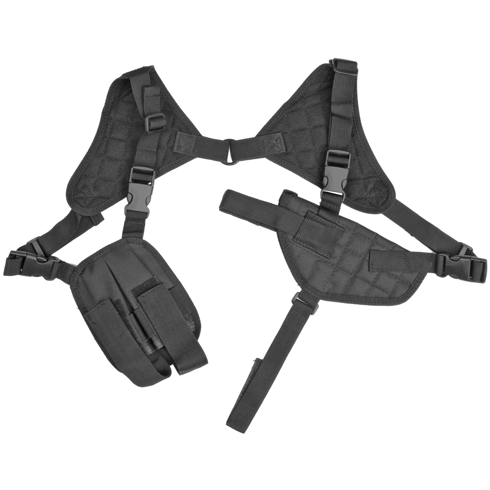 """This is a fully adjustable"""" ambidextrous"""" horizontal shoulder holster with a double magazine pouch. The shoulder straps are fully adjustable for length for a custom fit to your body and include elastic band section to expand and contract with your body movements."""