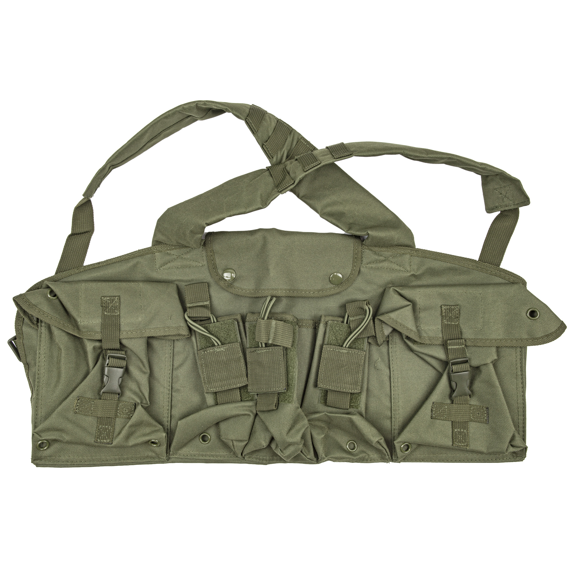 """This AK Chest Rig includes three double AK Magazine pouches"""" with hook and loop fasteners and bungee cord retention straps"""" to carry up to six 30 round Magazines. There are two large Utility Pouches on each side of the chest rig with quick connect buckle flaps for storing additional ammo and gear and one central Chest compartment with button snaps for more storage."""