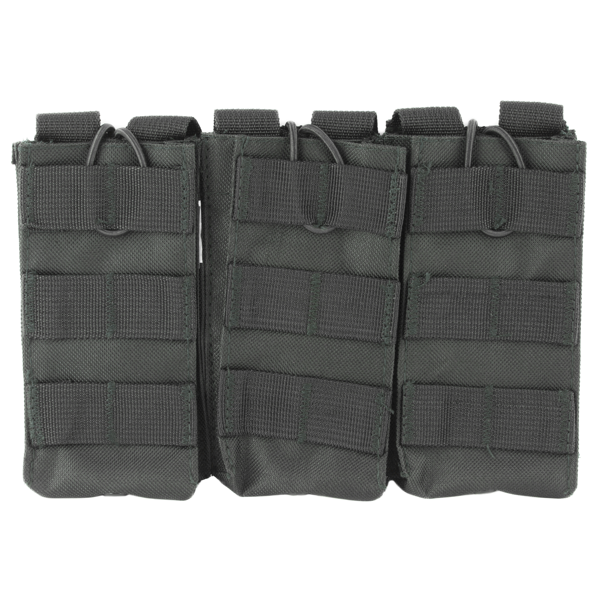 This triple AR magazine pouch holds three AR style 5.56/223 or 7.62x39 magazines. Adjustable Bungee Style Retention Straps make Access to your Magazines easy while securely holding them in place.