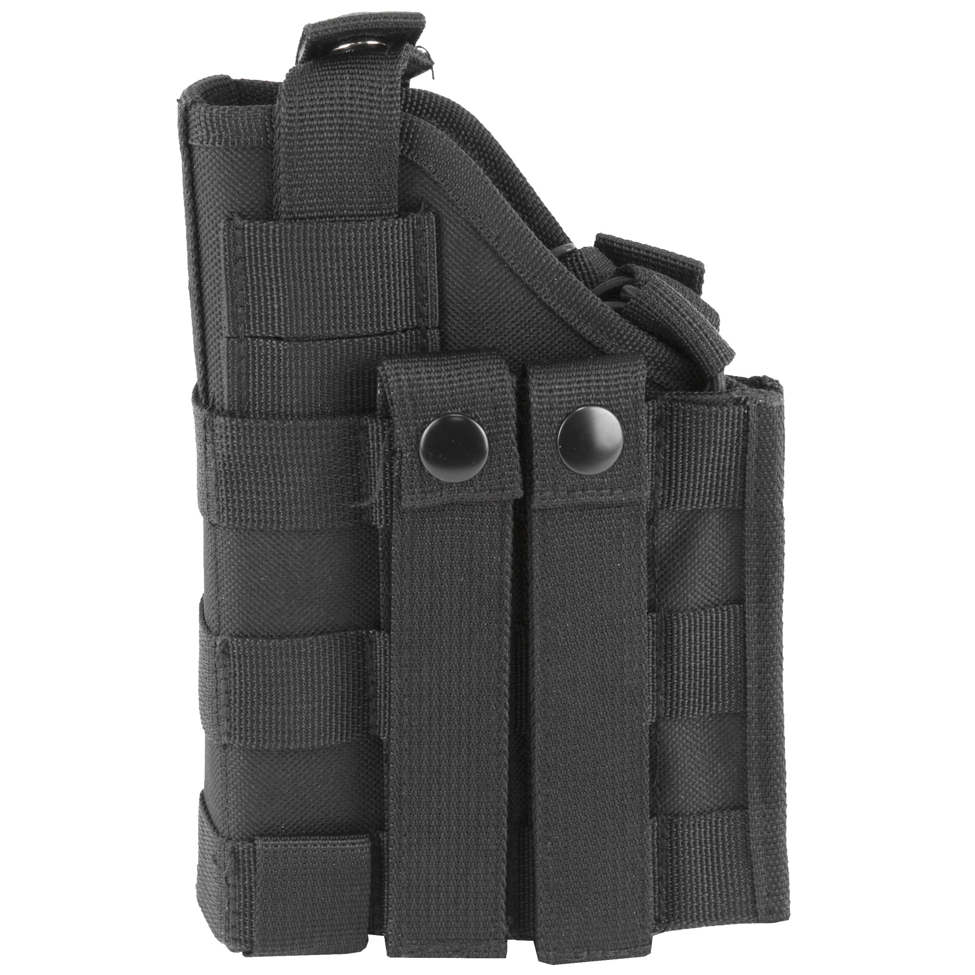 """This is a Innovative Ambidextrous Modular MOLLE Holster that is fully configurable for Full Size and Compact semi autos without or with tactical flashlights/lasers. With a Grid of Eyelets"""" this holster can be configured to fit various sizes and shapes of pistols. It can also be custom configured to fit around Tactical Flashlights/Lasers mounted onto the frame of the Pistol. Included are three different types of retention features that can be used to keep the pistol secured to the holster: adjustable Thumb-Snap"""" Grip Retention Bungee Cord with pull tab"""" and 1"""" Nylon Grip Retention strap with quick connect buckles."""